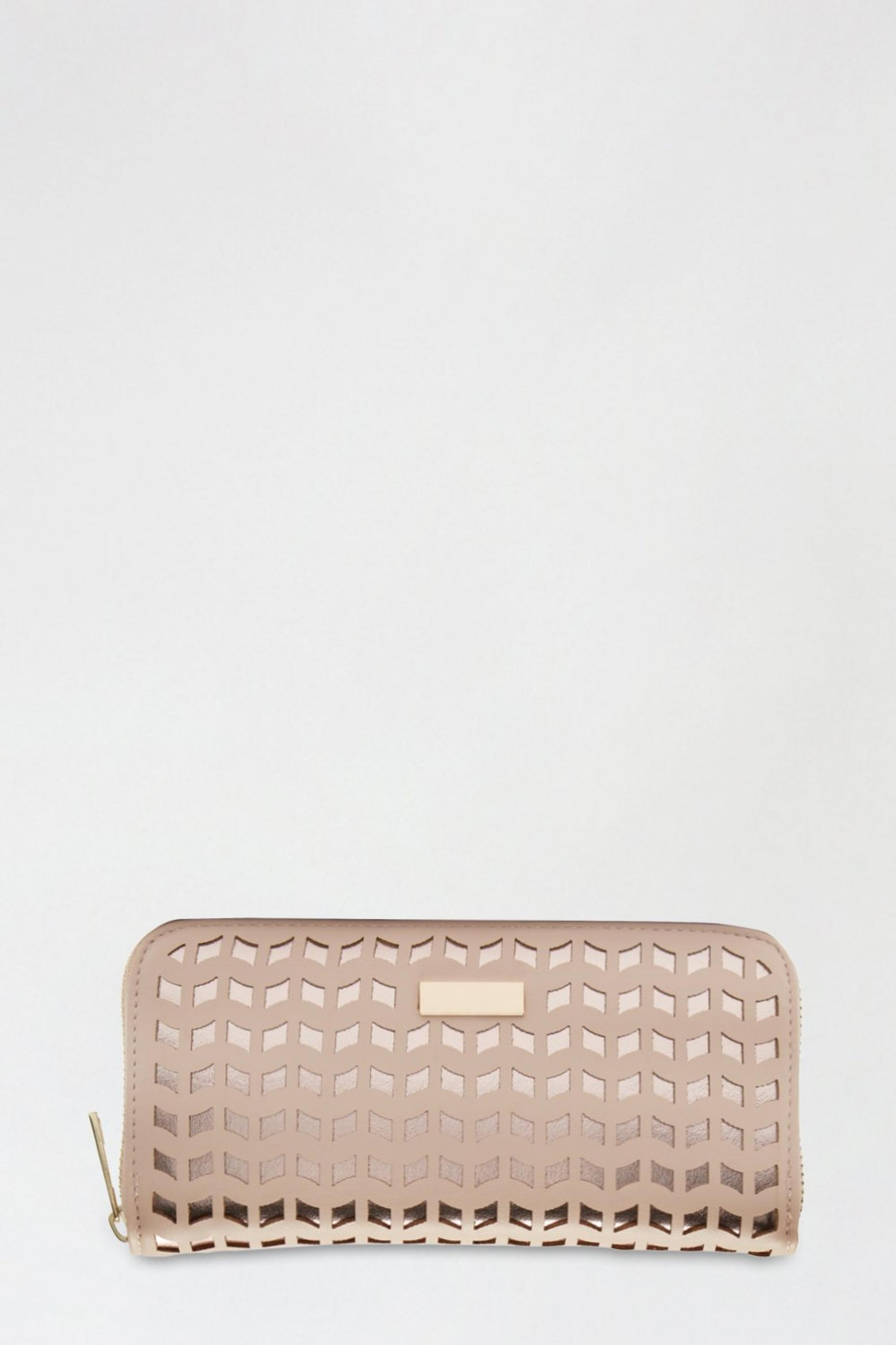 Laser Cut Detail Zip Around Purse