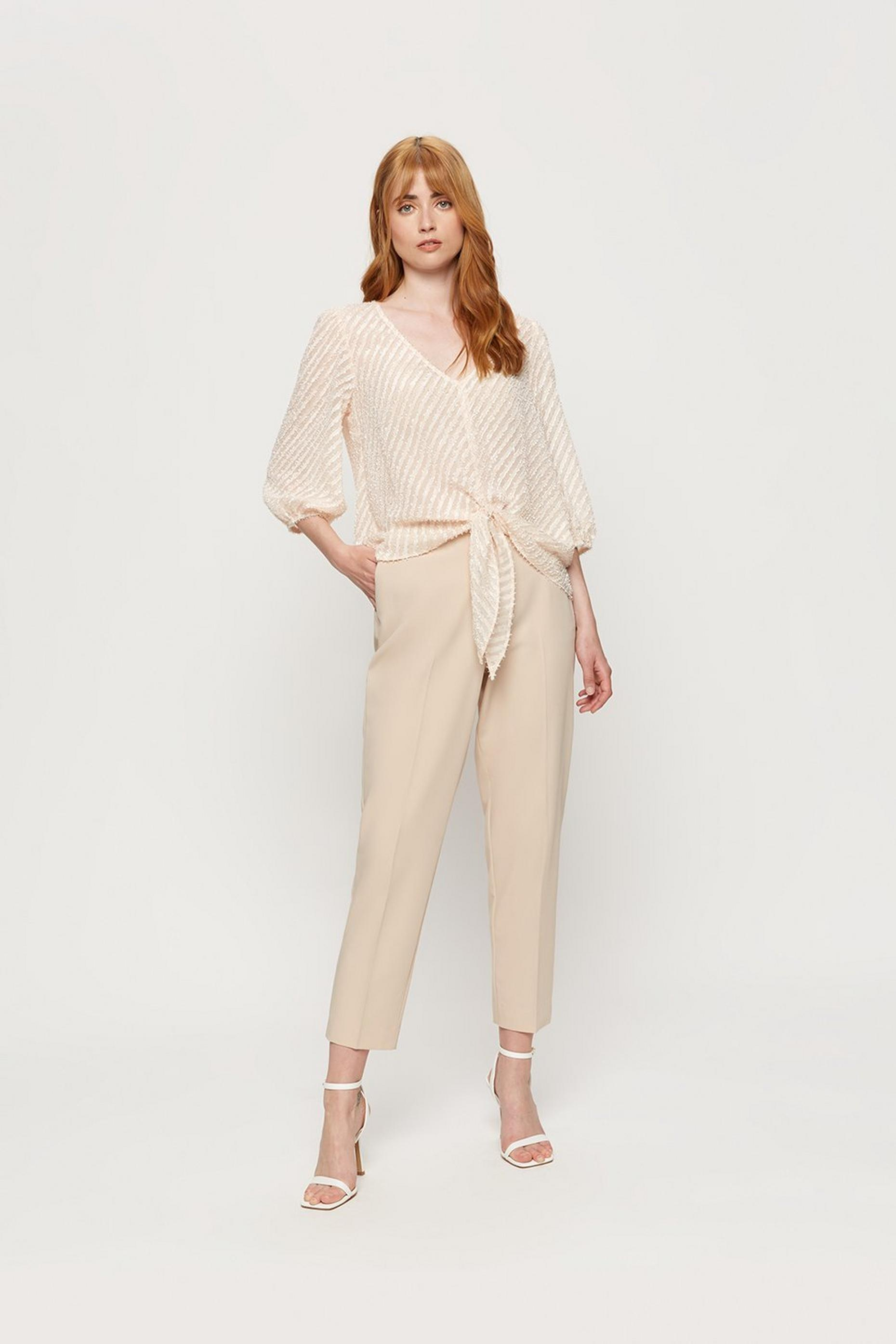 Blush Textured Tie Front Top