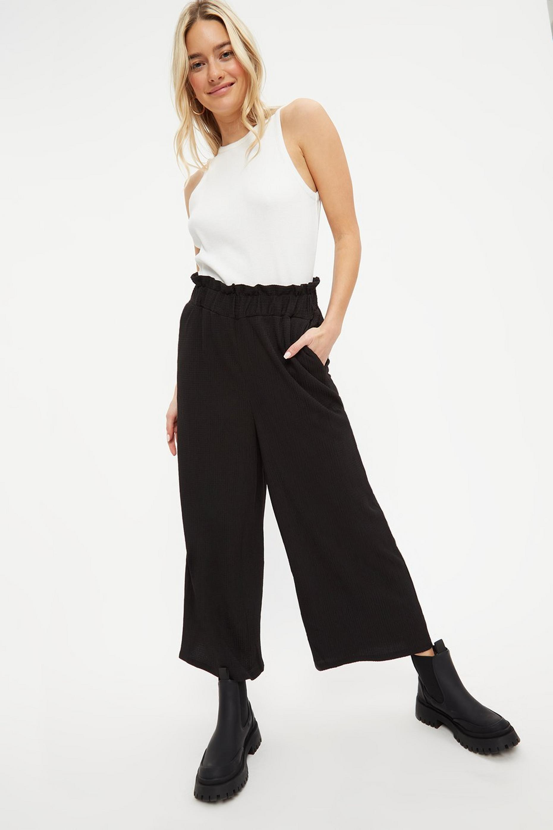 Black Textured Culottes