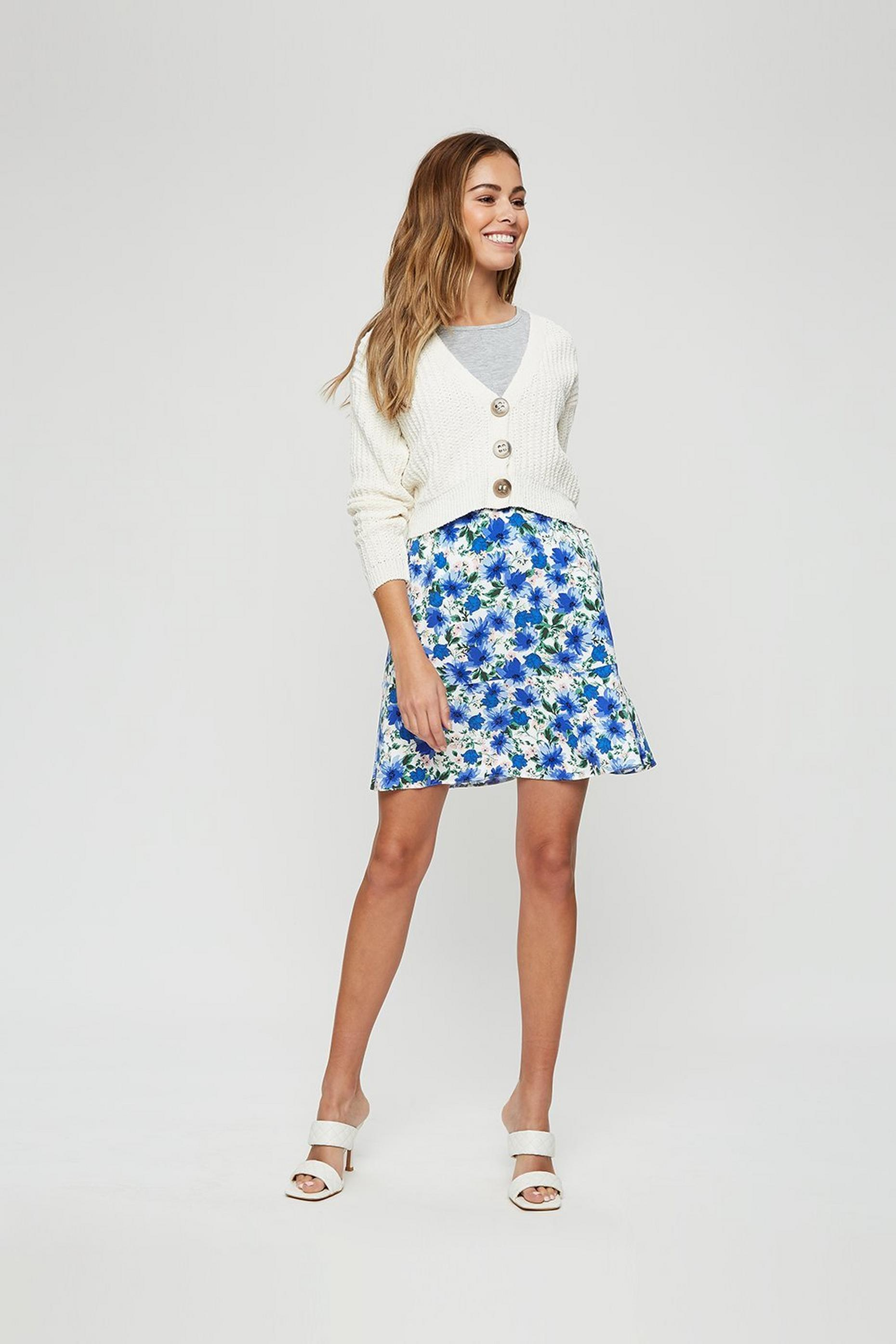 Blue Floral Print Flippy Mini Skirt