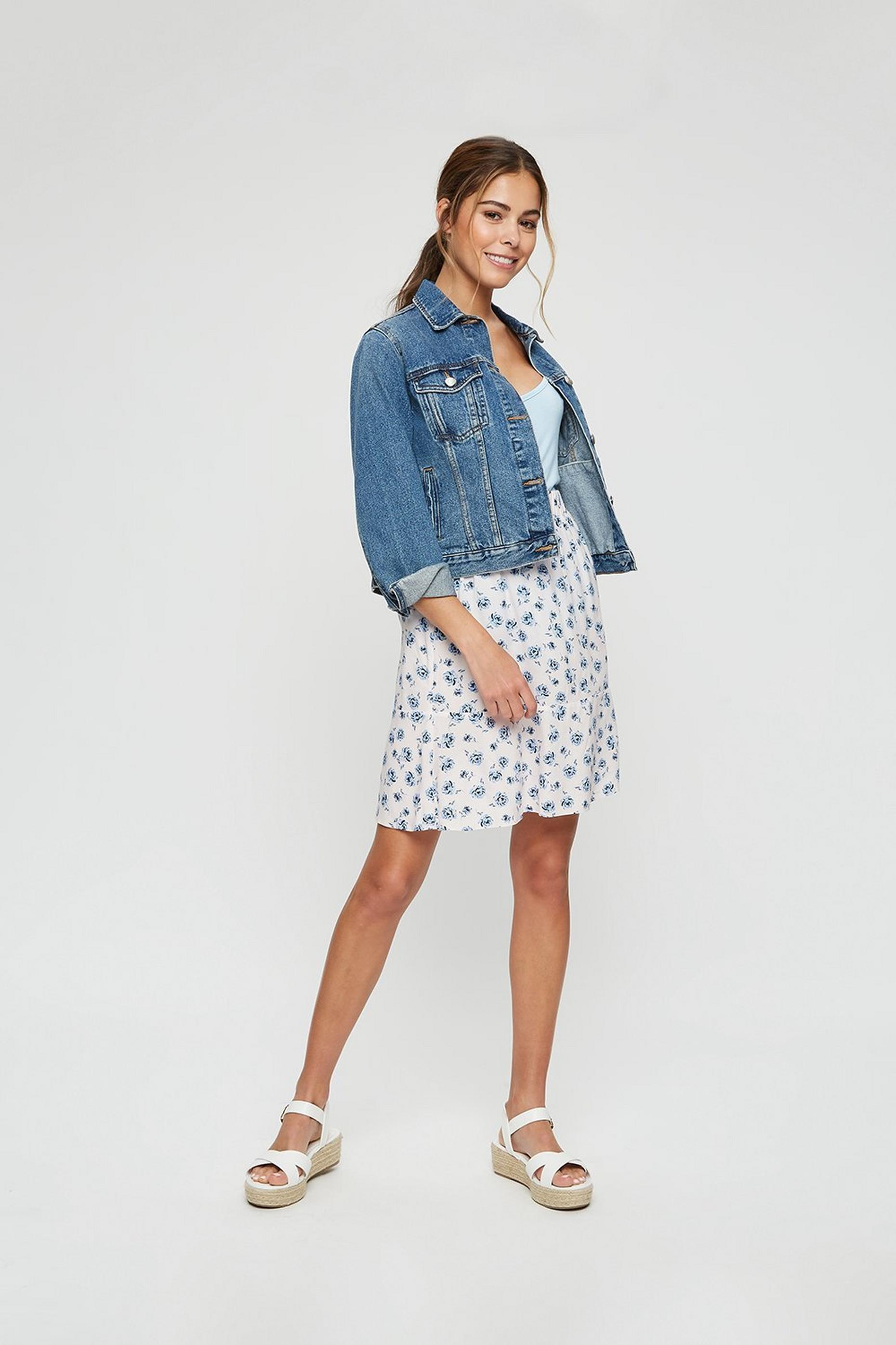Ivory Blue Rose Print Flippy Mini Skirt