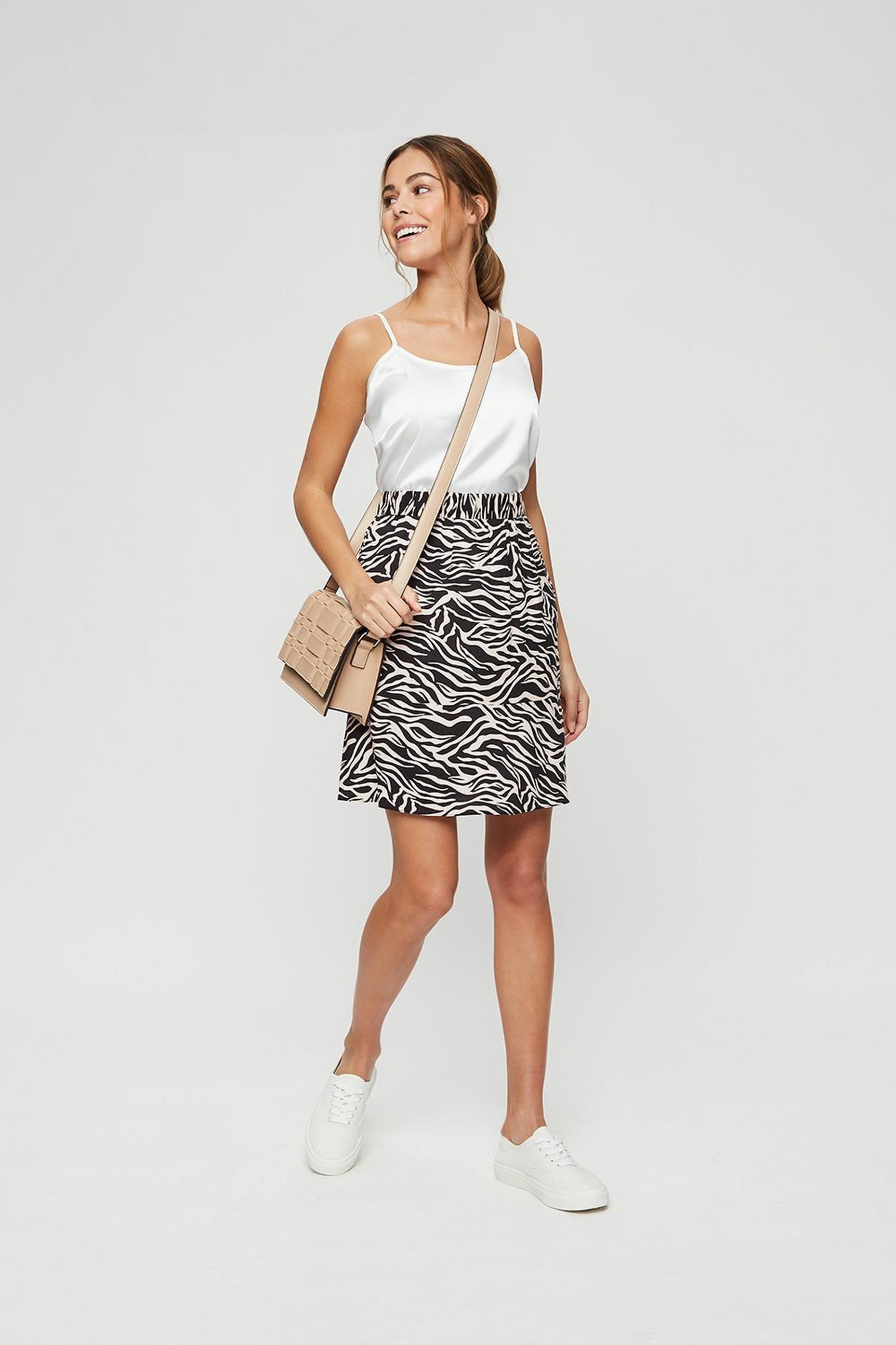 Zebra Print Flippy Mini Skirt