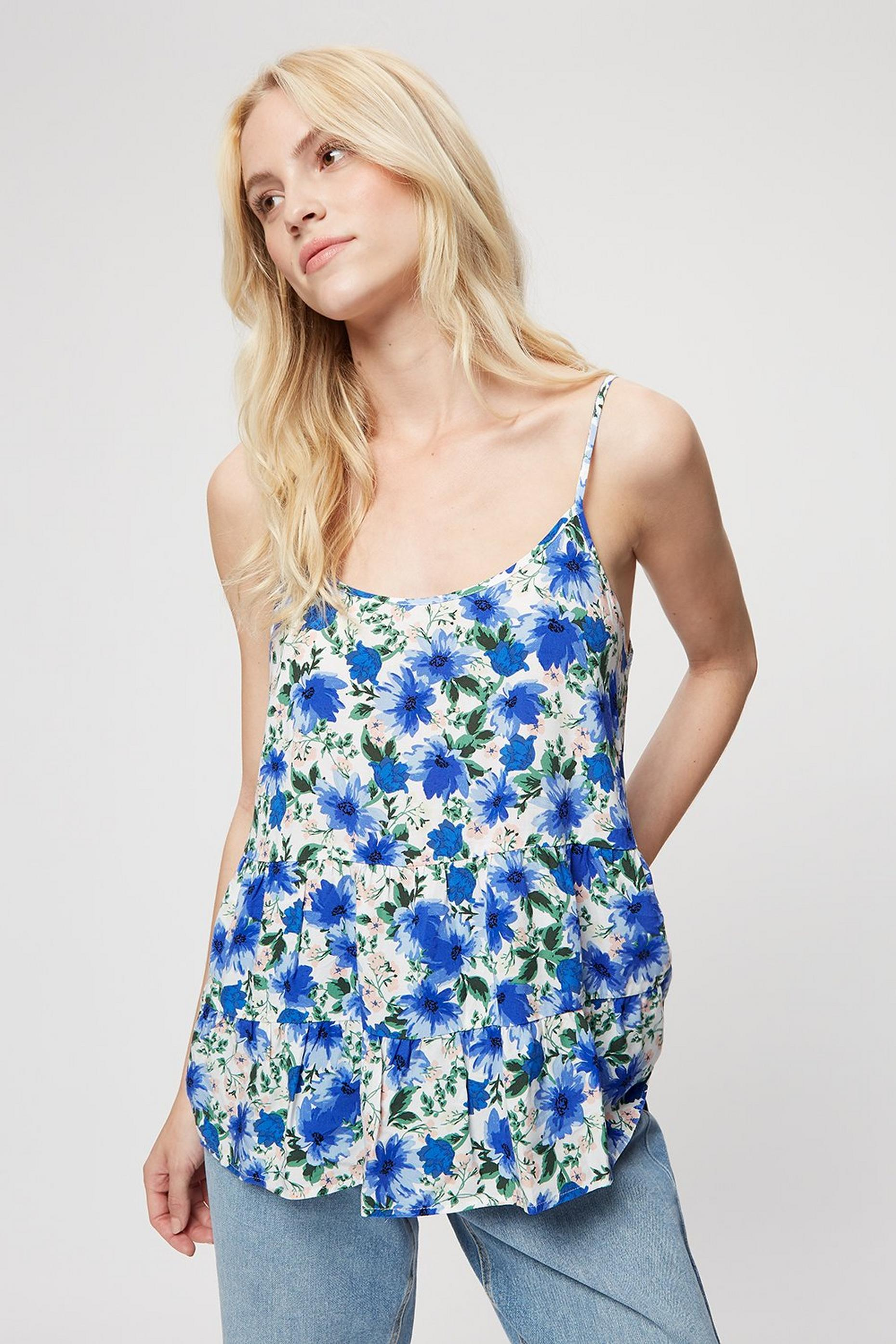 Blue Floral Tiered Cami