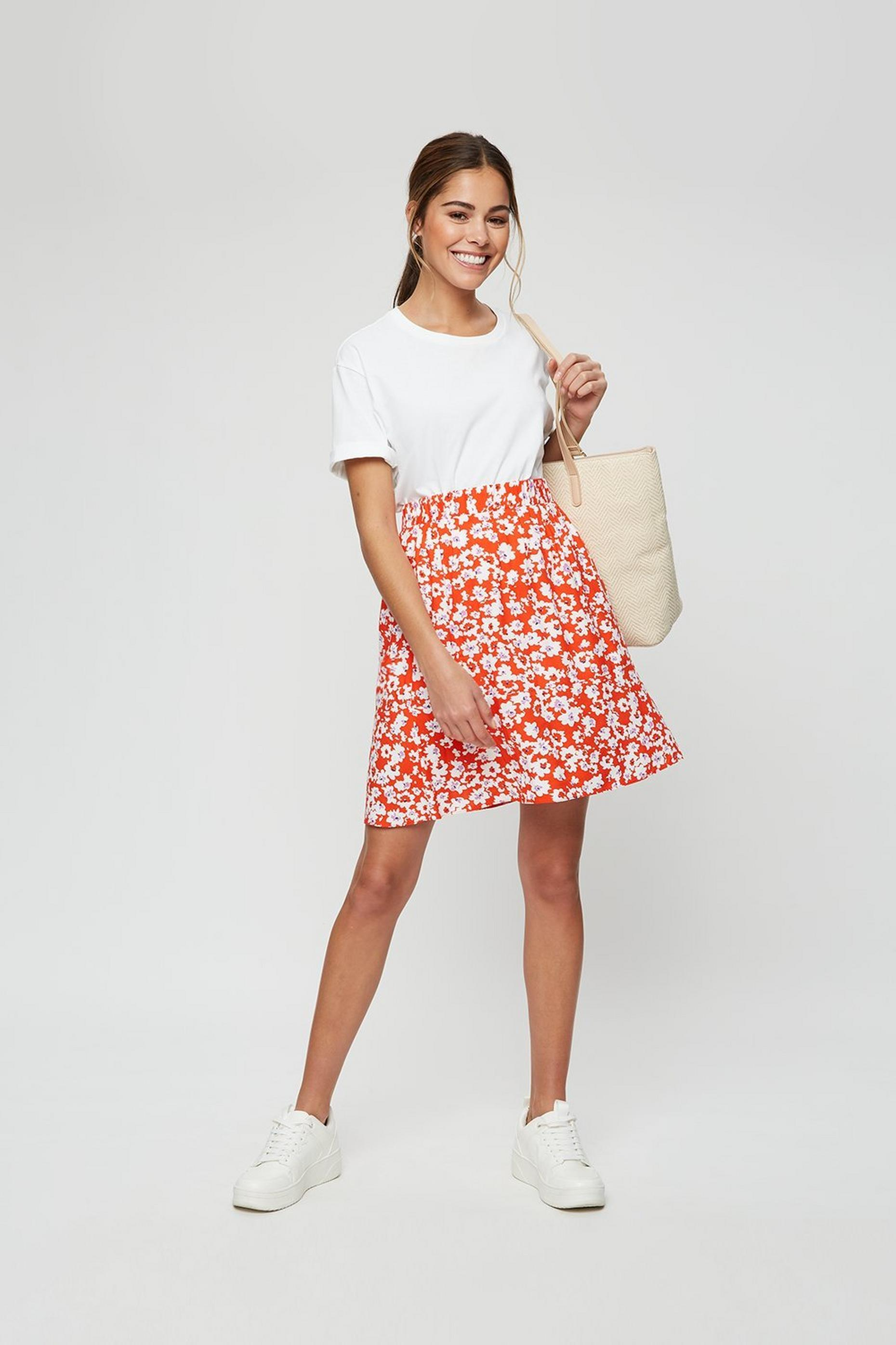 Red Ditsy Flippy Mini Skirt