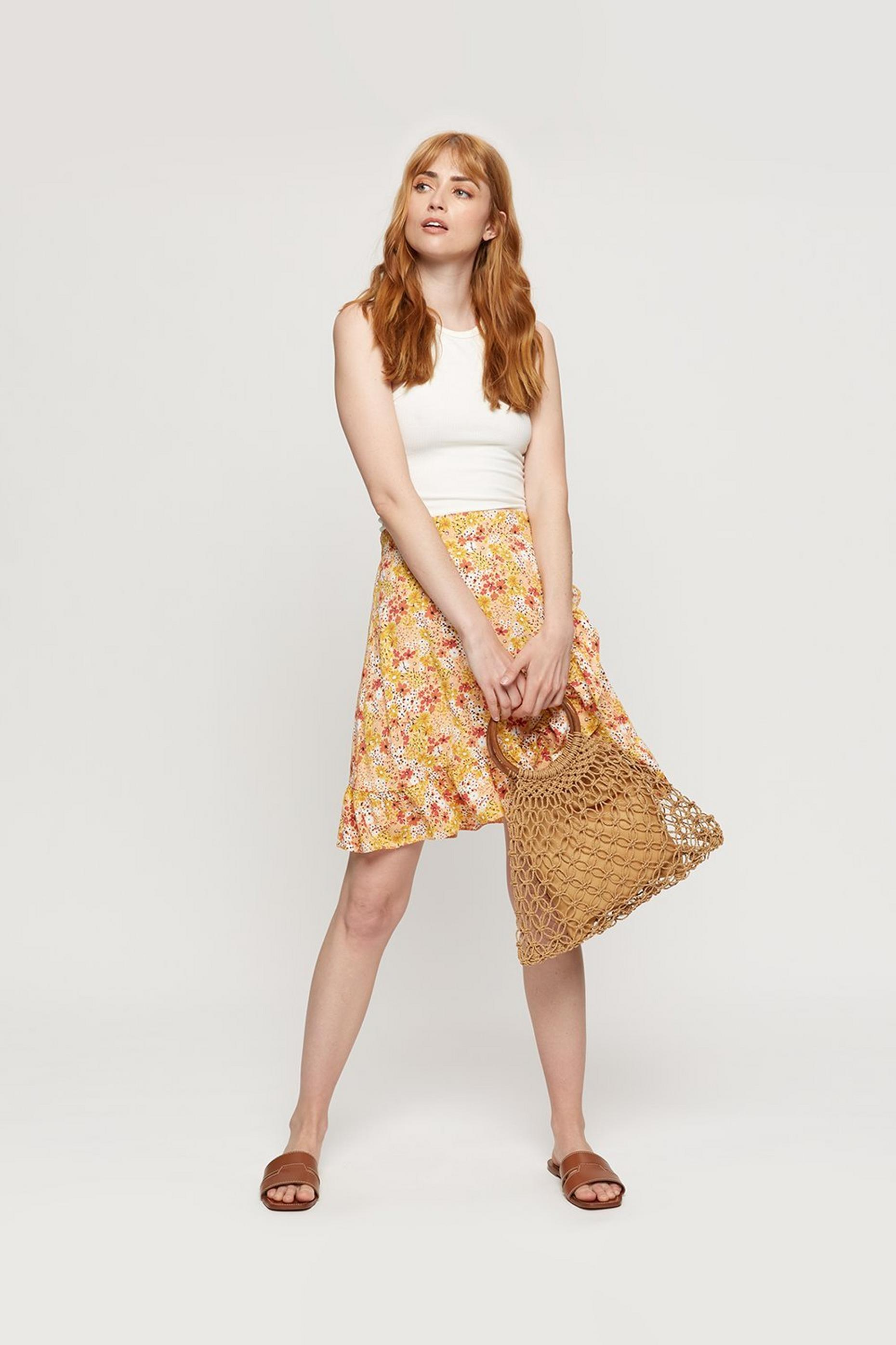 Sunshine Yellow Ditsy Frill Mini Skirt