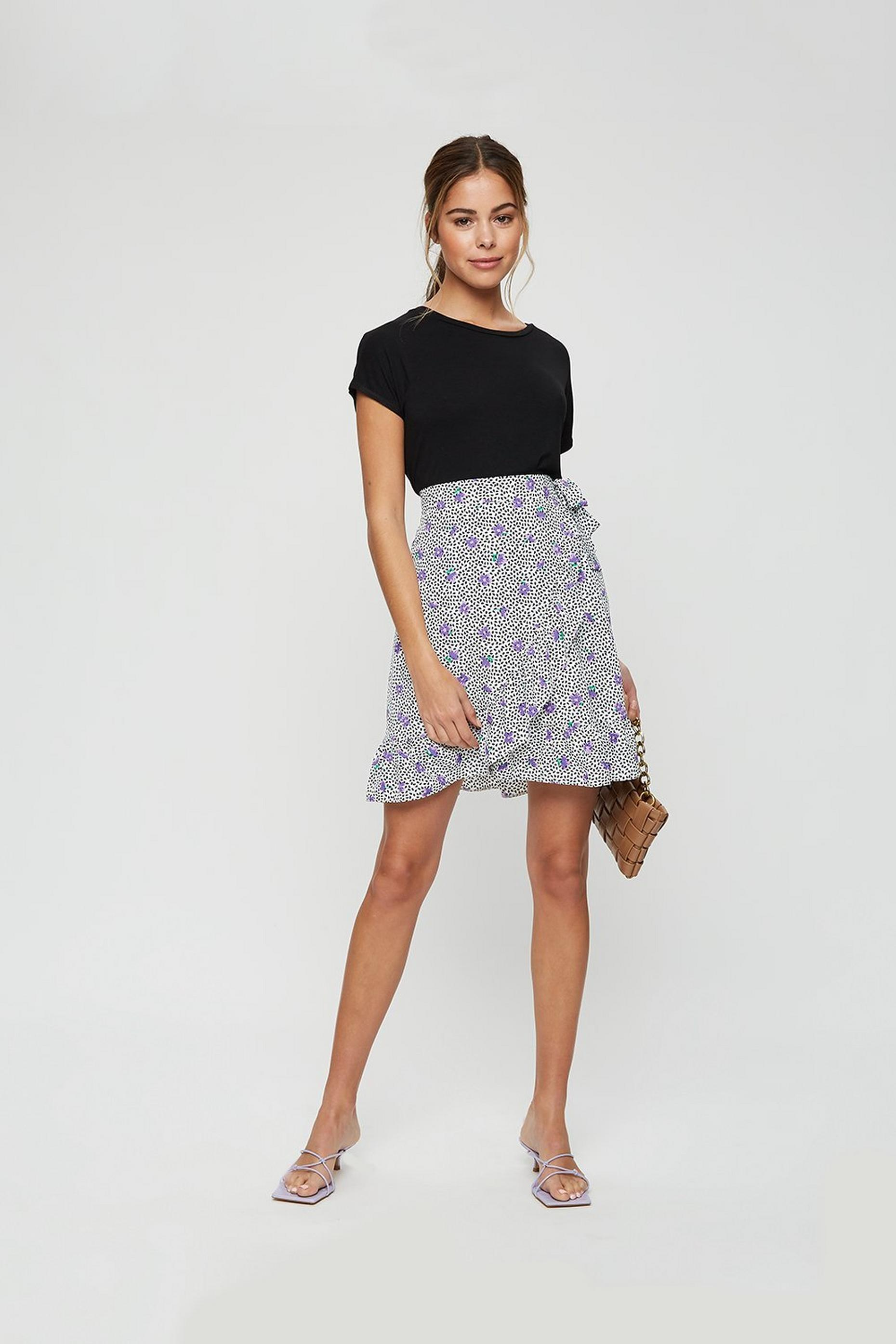 Purple Floral Frill Mini Skirt
