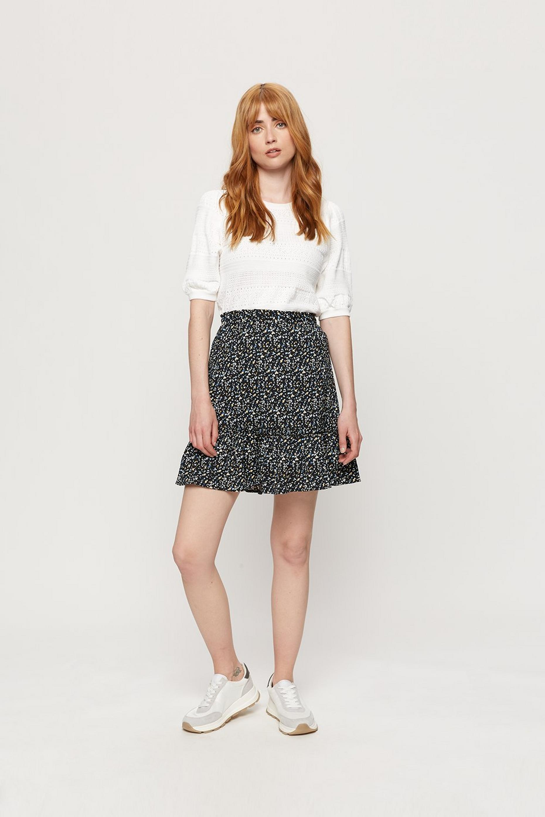 Leopard Tiered Hem Textured Mini Skirt
