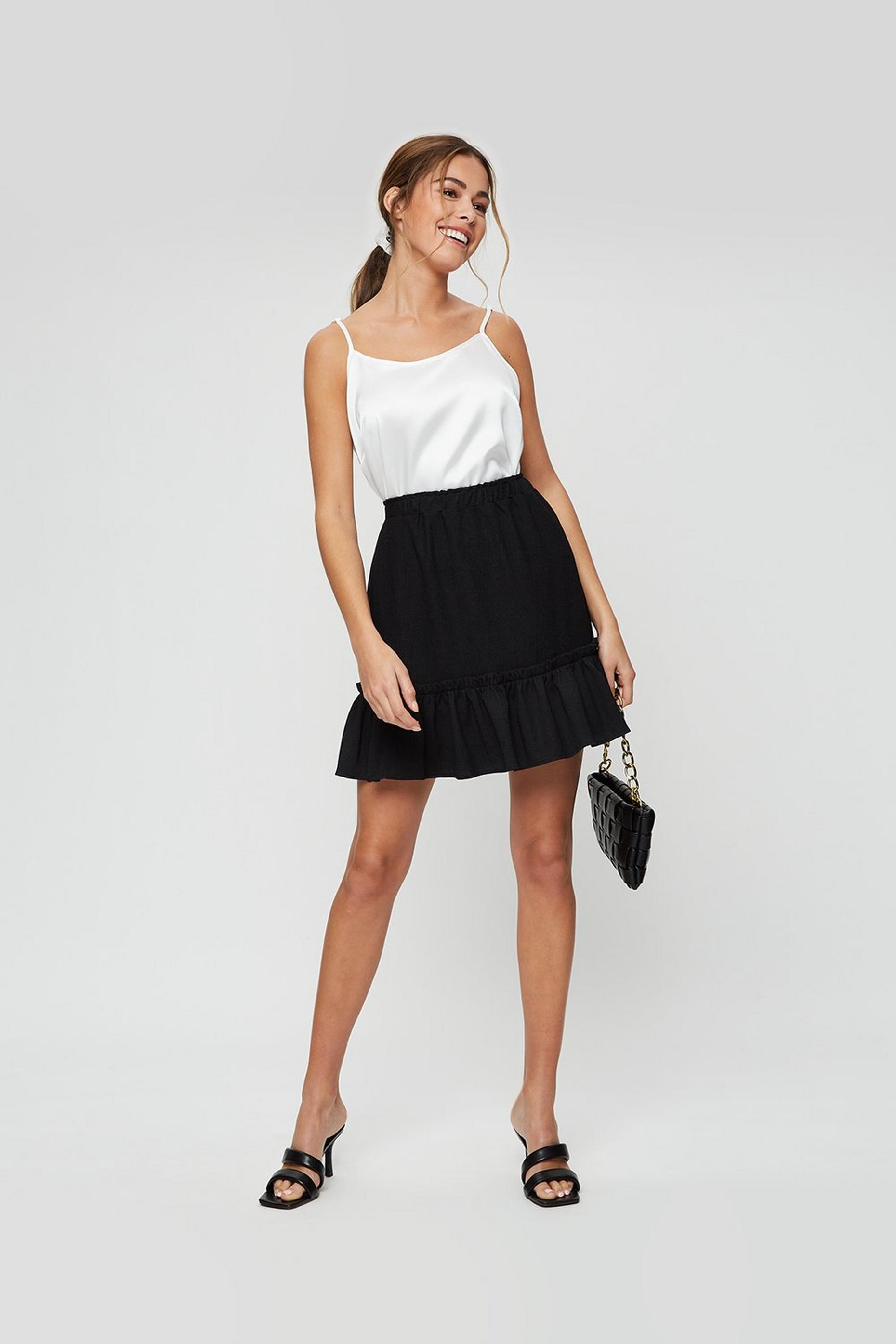 Black Tiered Hem Textured Mini Skirt