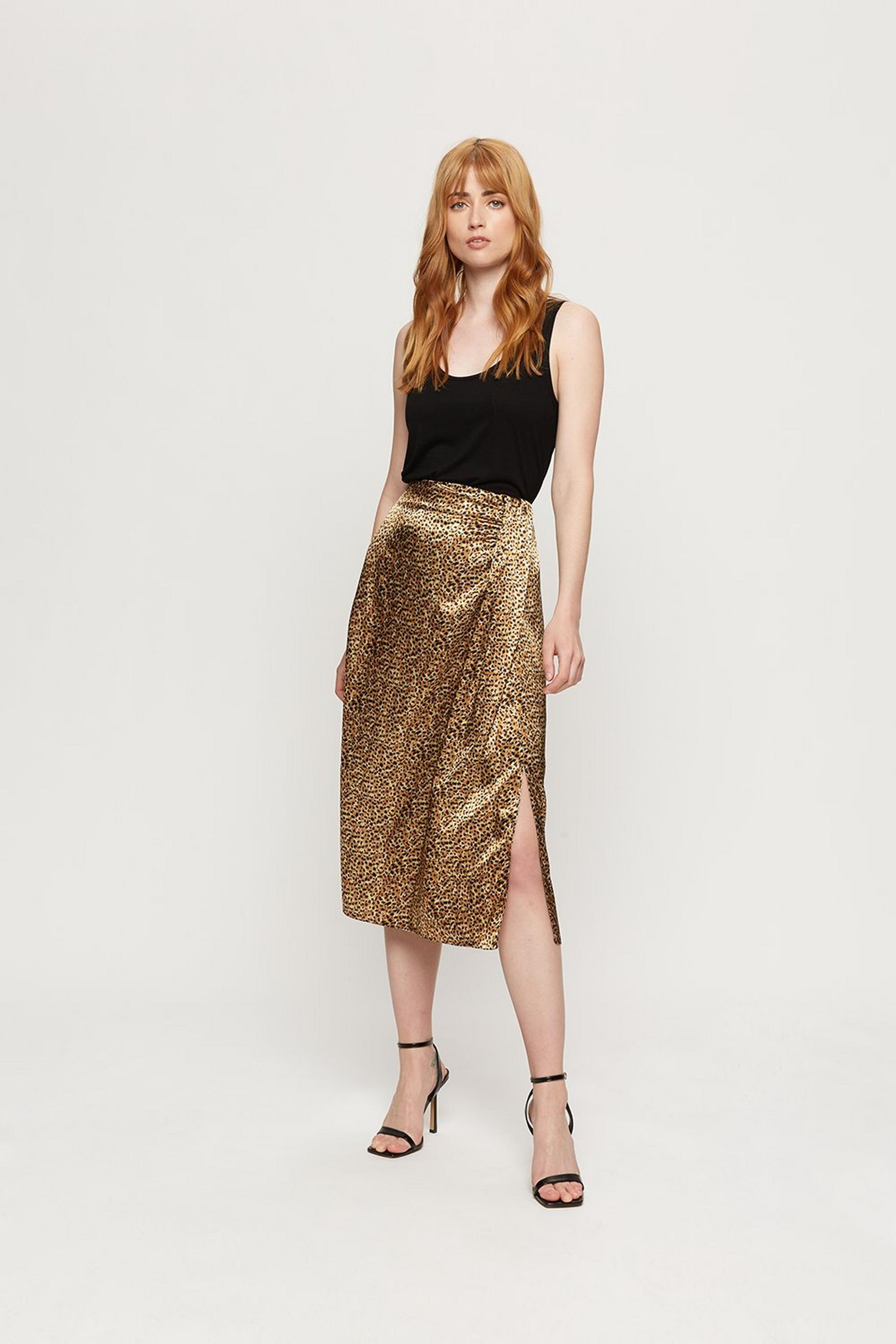 Leopard Print Satin Wrap Skirt