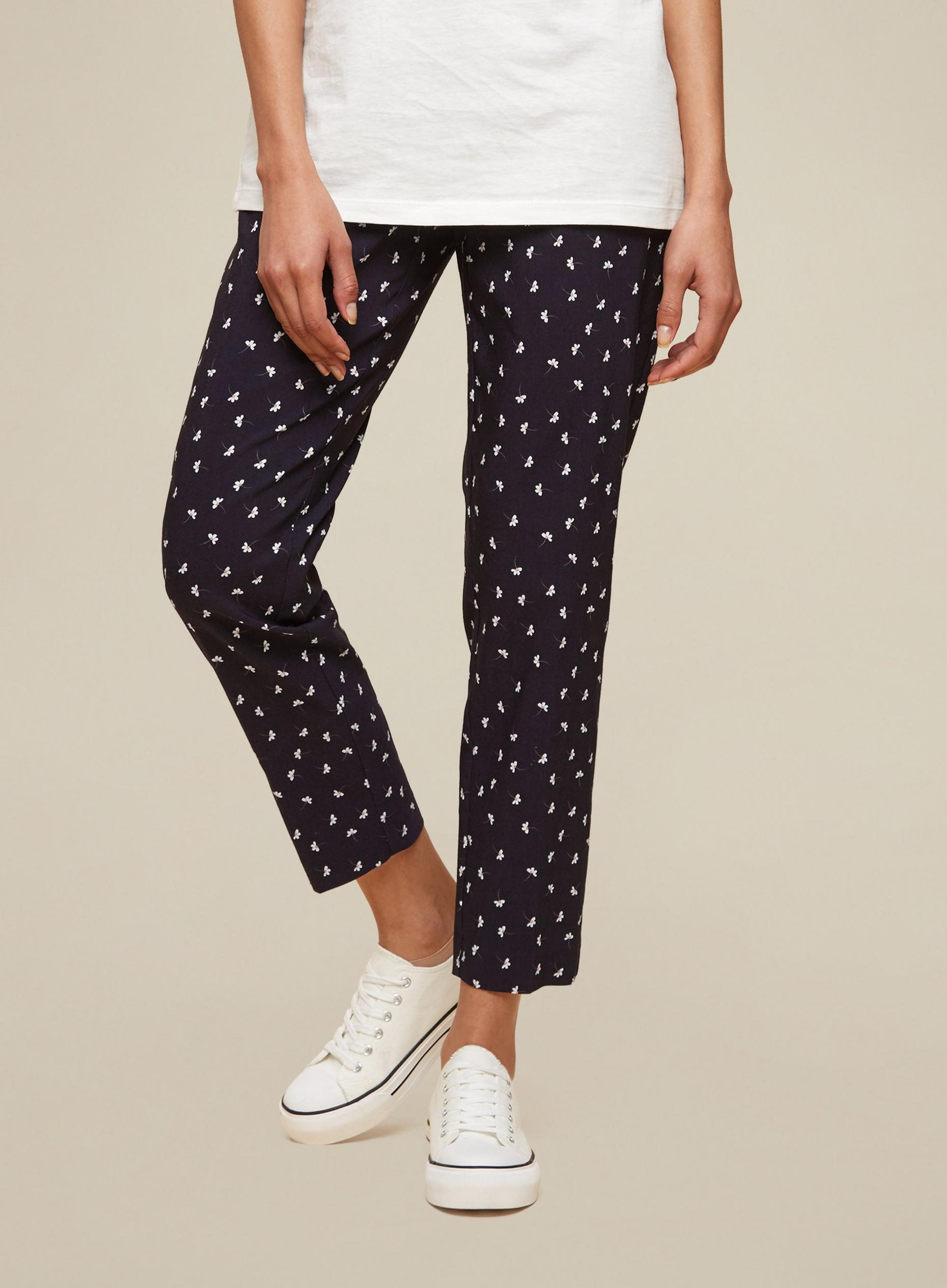 Tall Navy Blue Floral Print Trousers