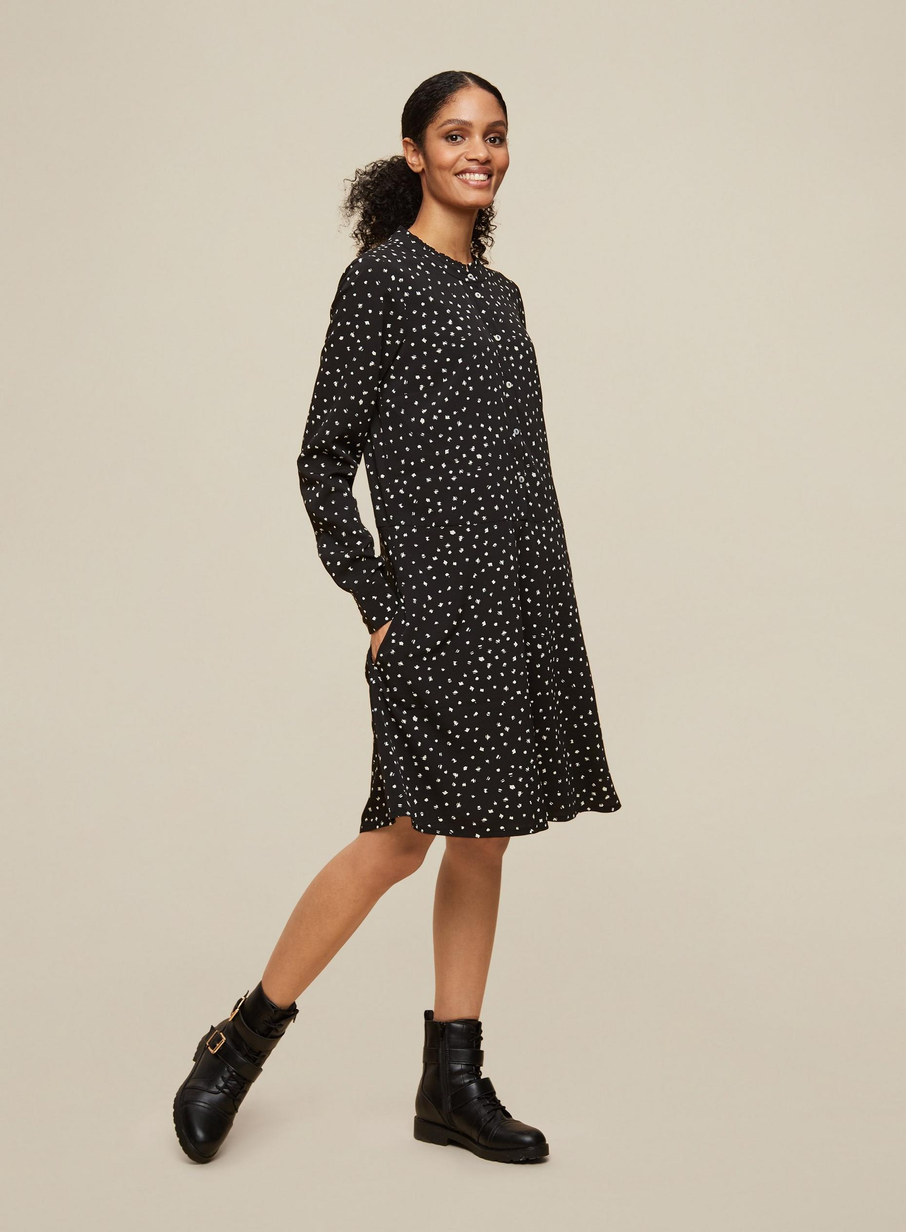 Tall Black Spot Print Shirt Dress