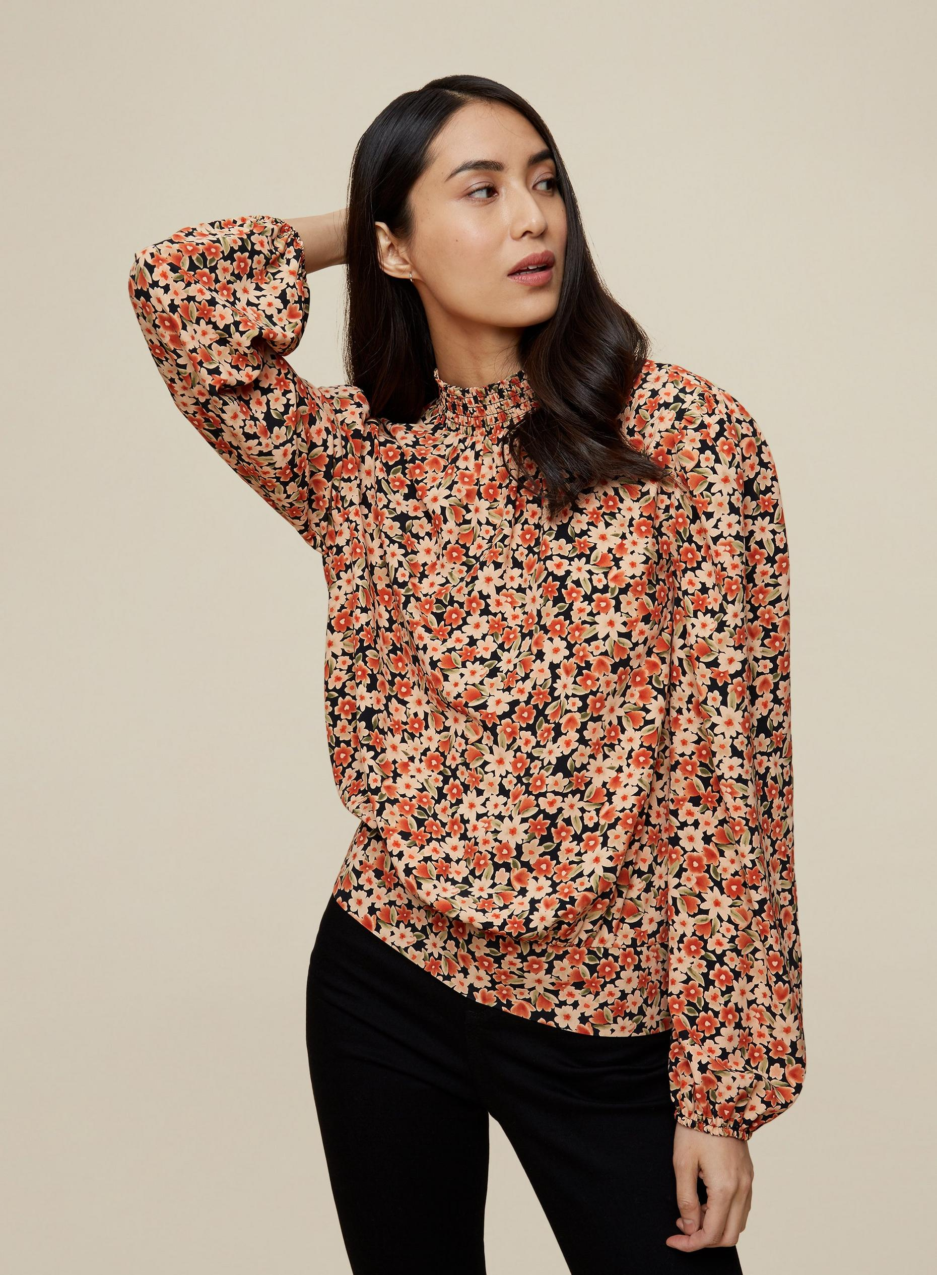 Tall Floral Shirred Neck Top