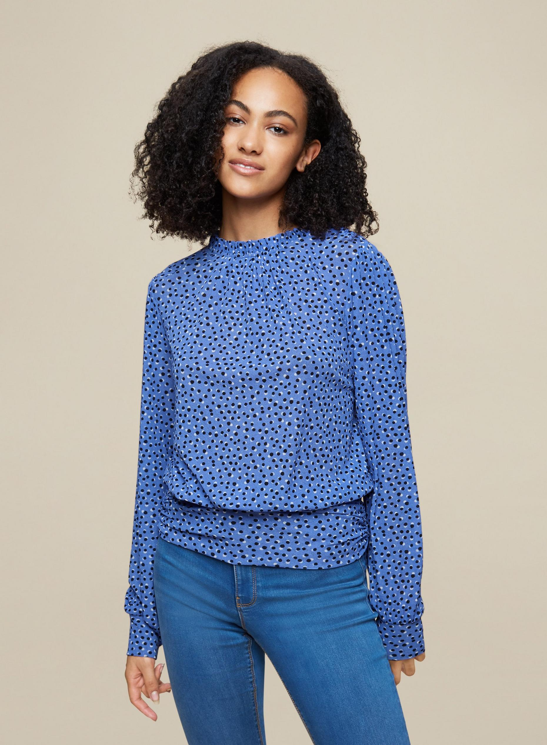 Tall Spot Print Volume Sleeve Top