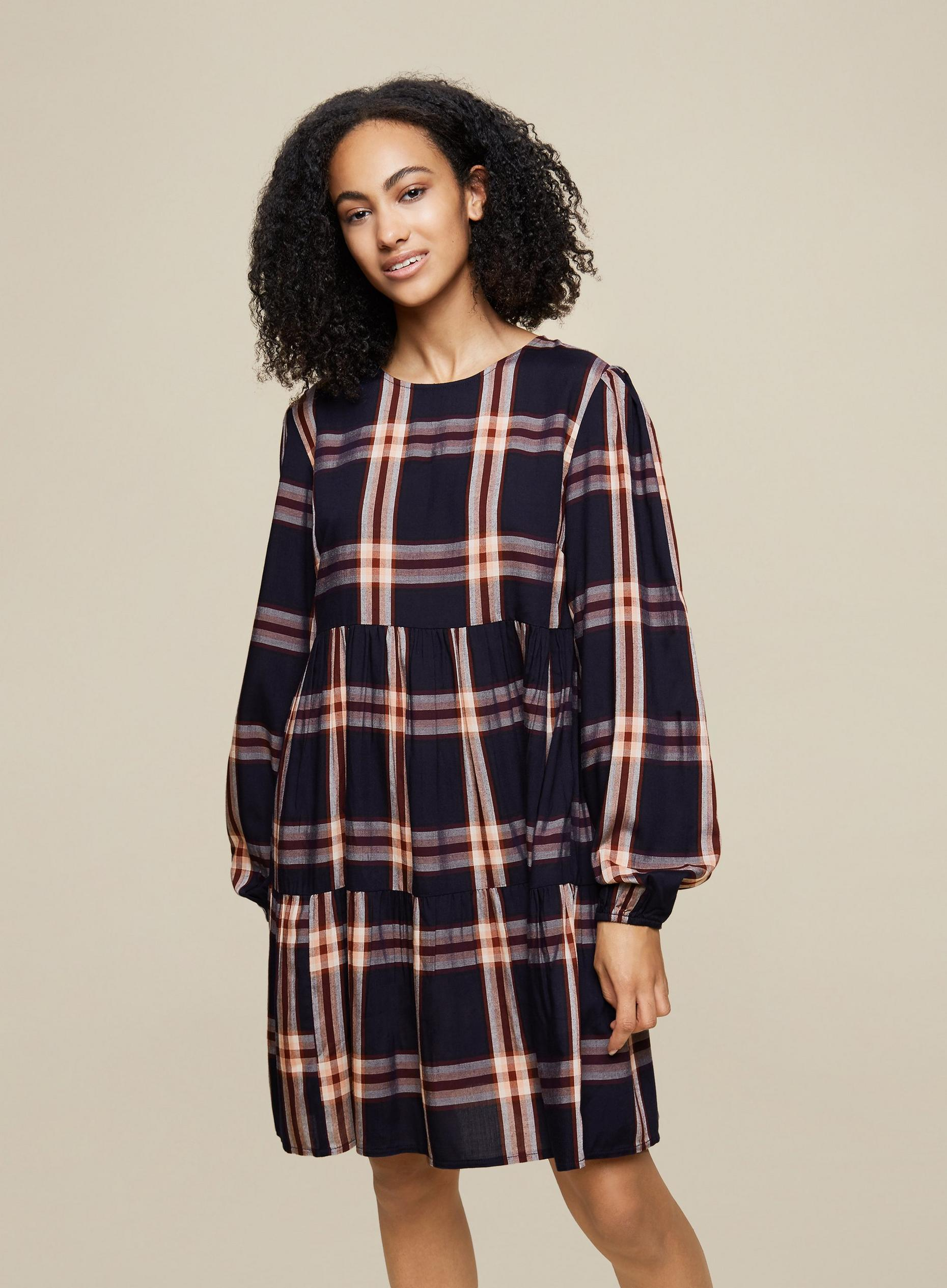 Tall Navy Checked Smock Dress