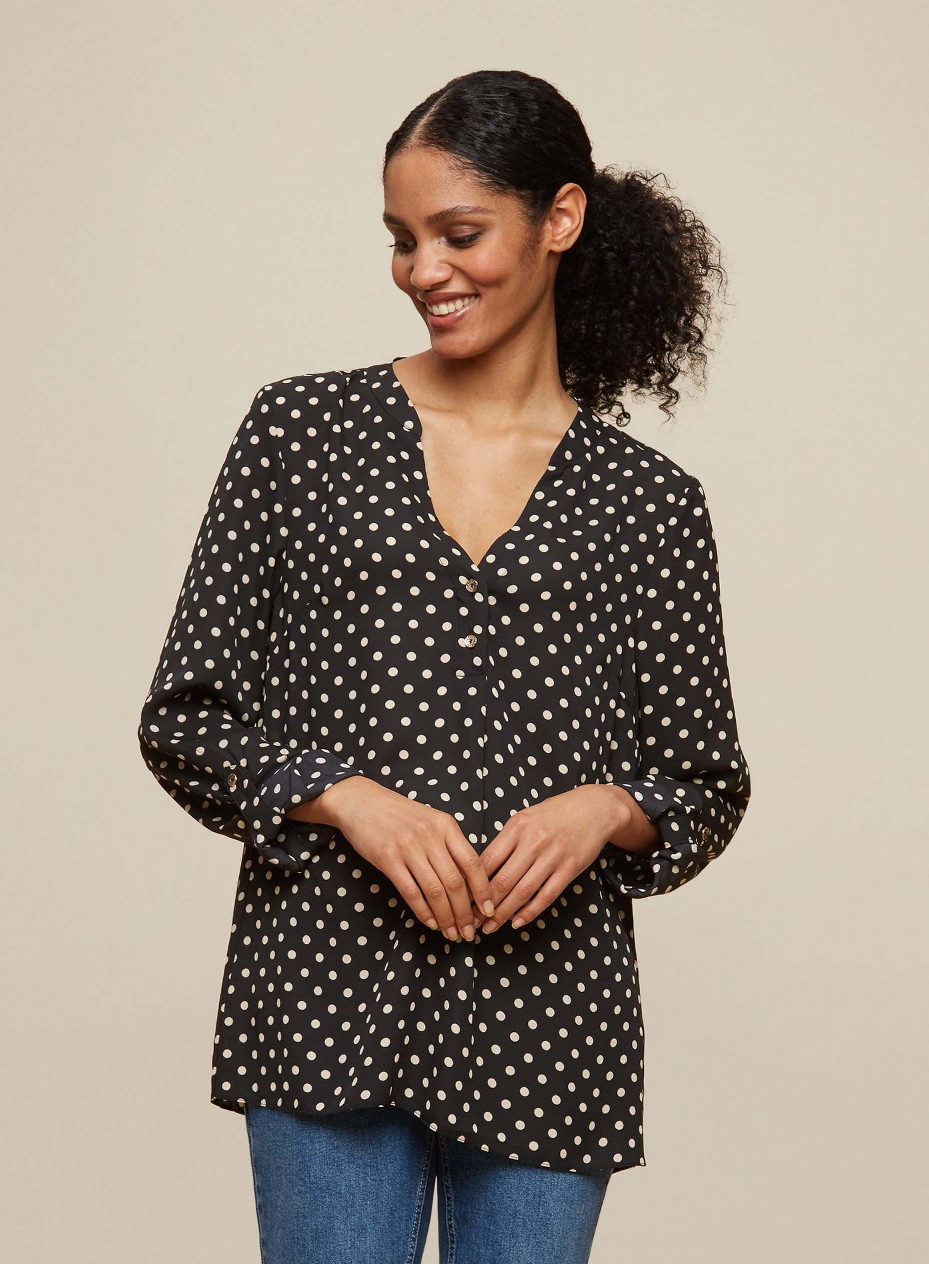 Tall Black Spot Roll Sleeve Blouse