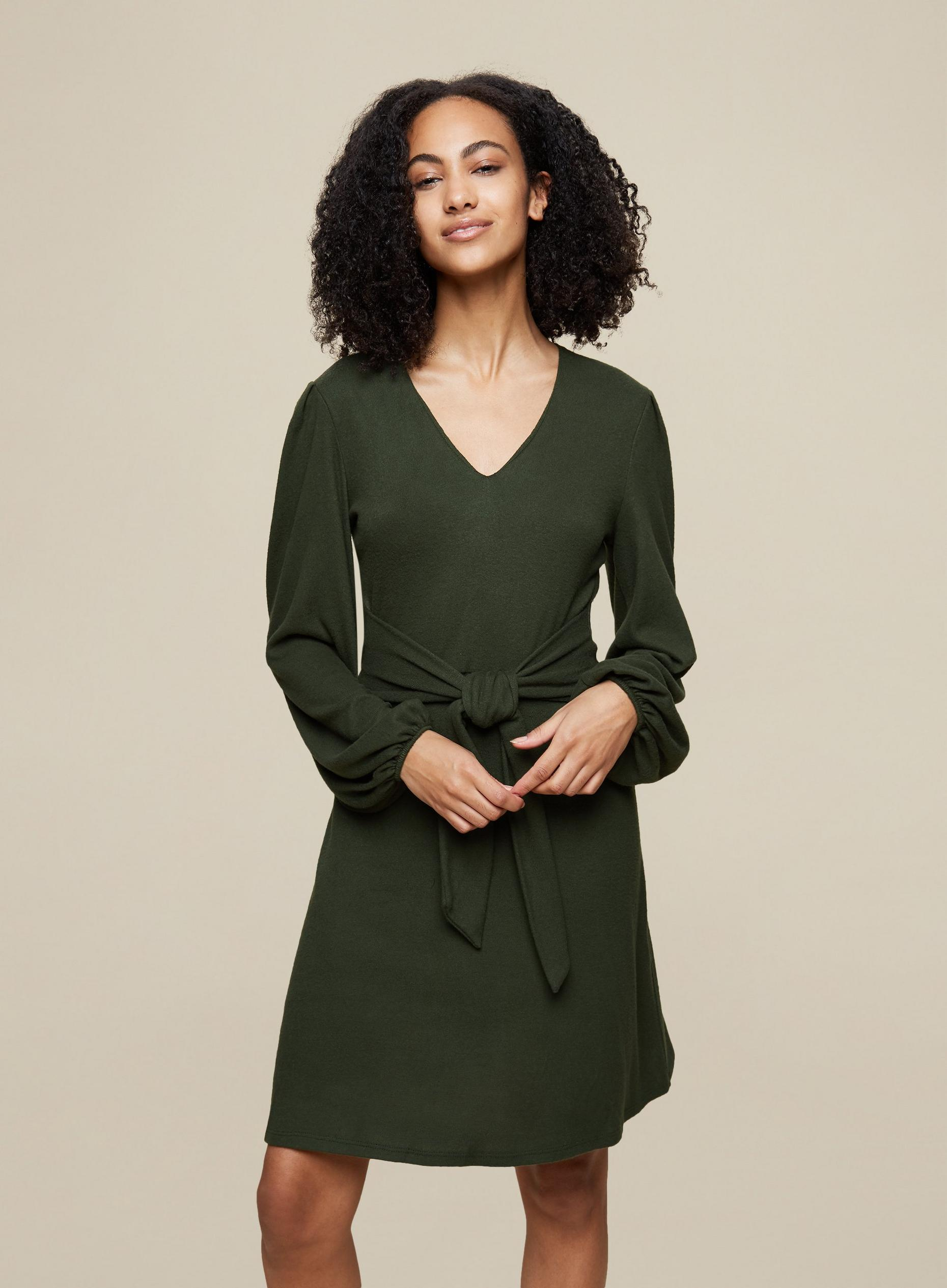Tall Khaki Tie Knitted Dress