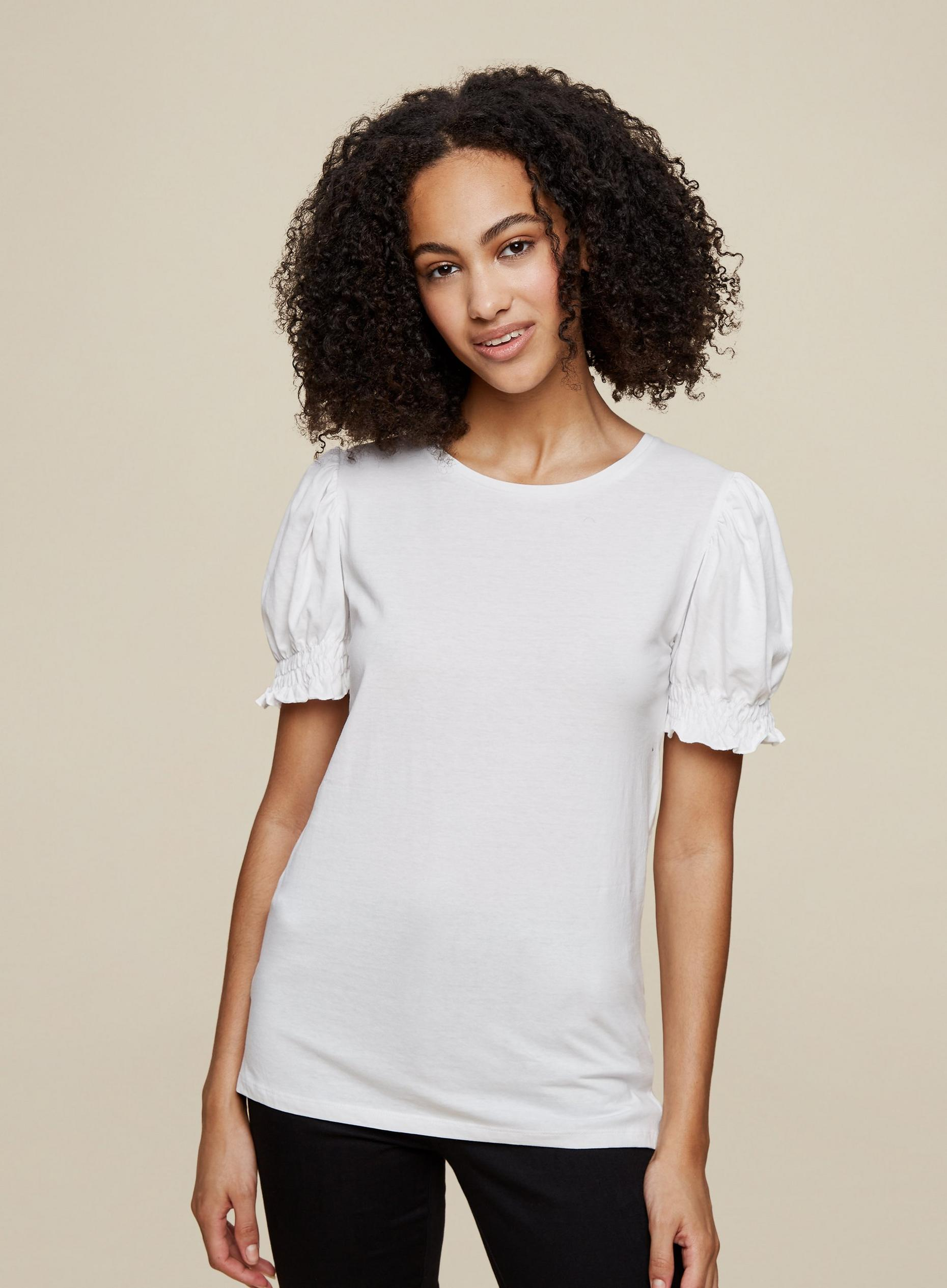 Tall Ivory Organic Cotton Shirred Top
