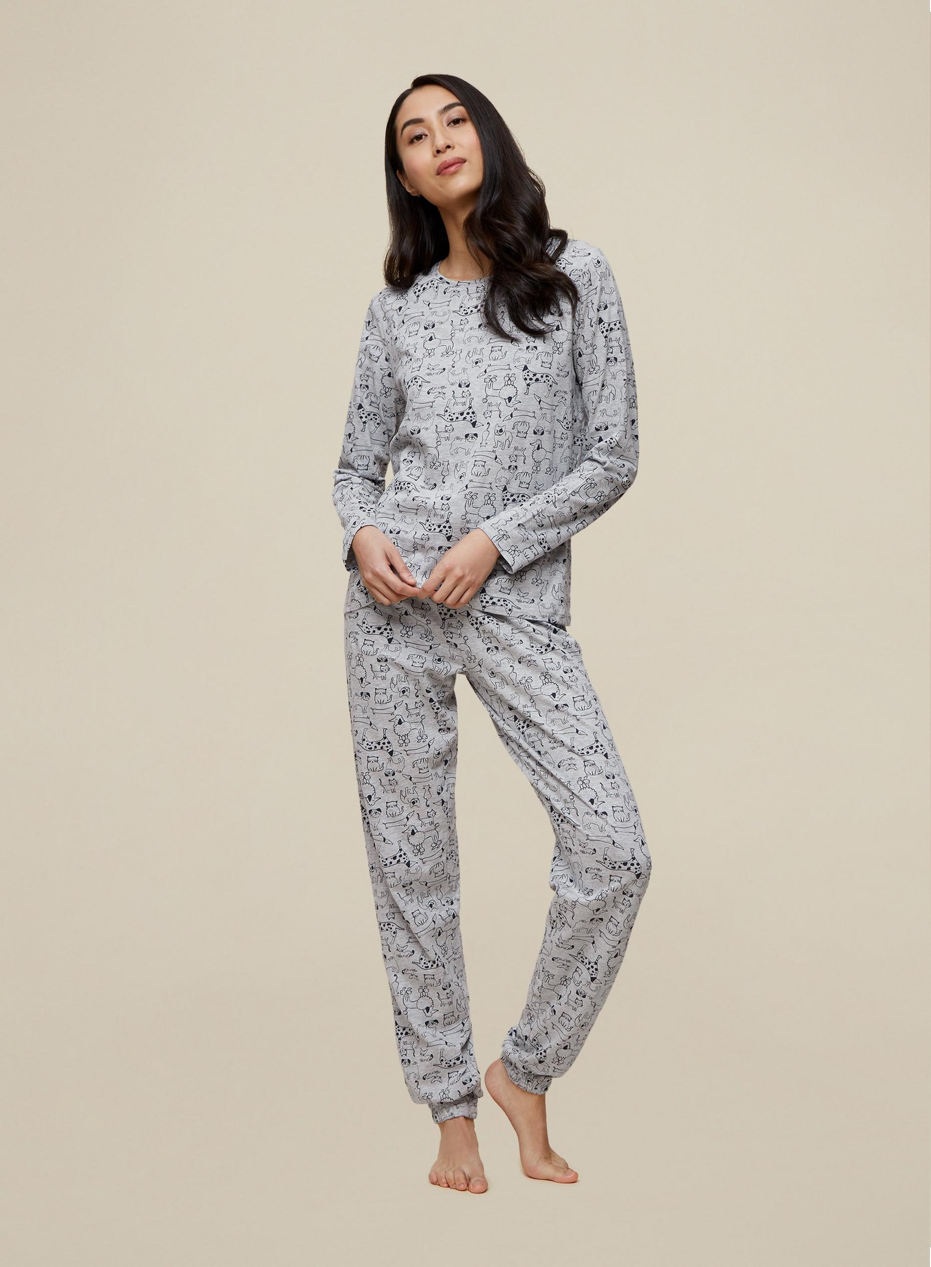 Tall Grey Cat And Dog Print Pyjama Set