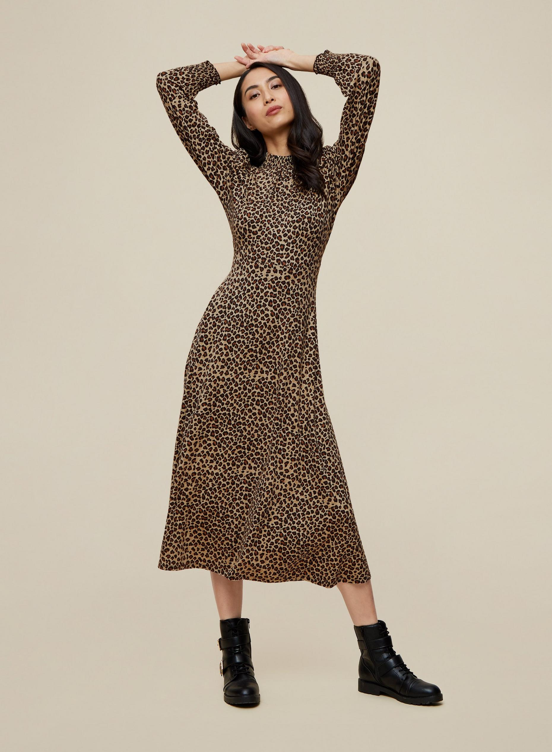 Tall Animal Shirred Neck Midi