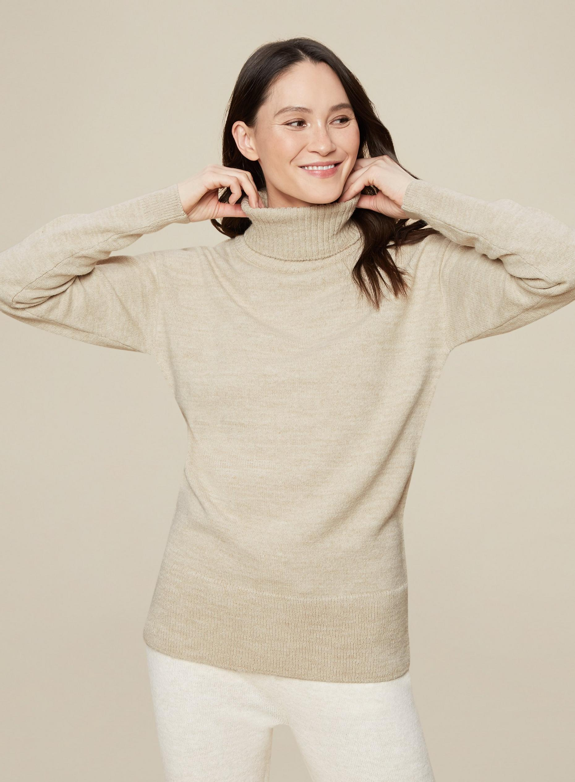 Tall Cream Roll Neck Jumper