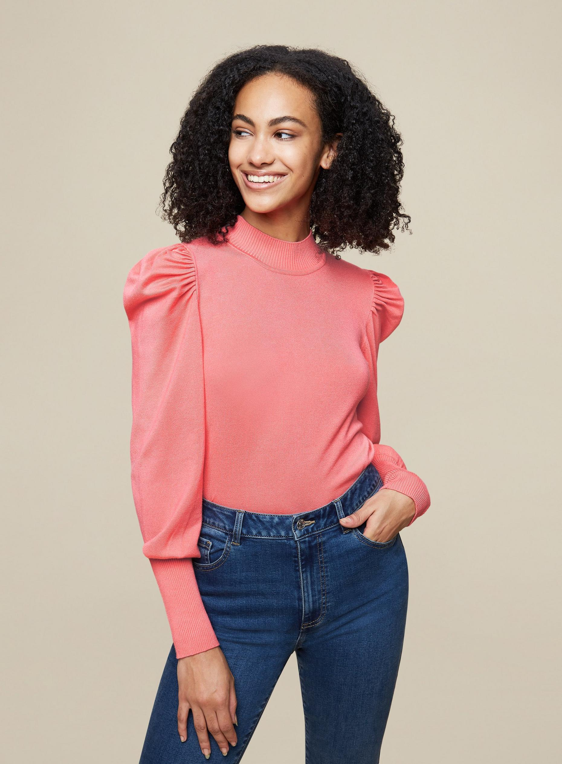 Tall Pink Puff Sleeve Knit Jumper