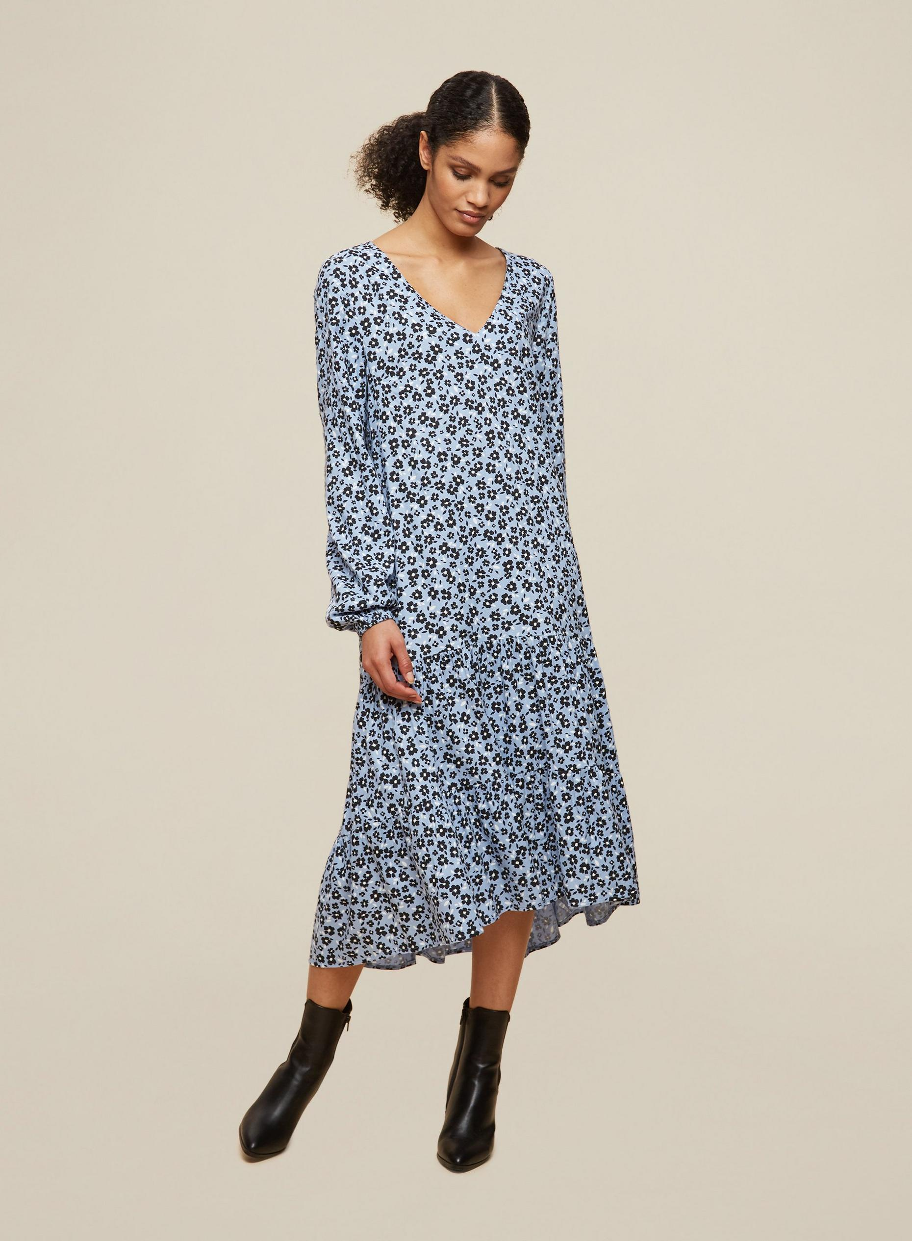 Tall Blue Floral Smock Dress