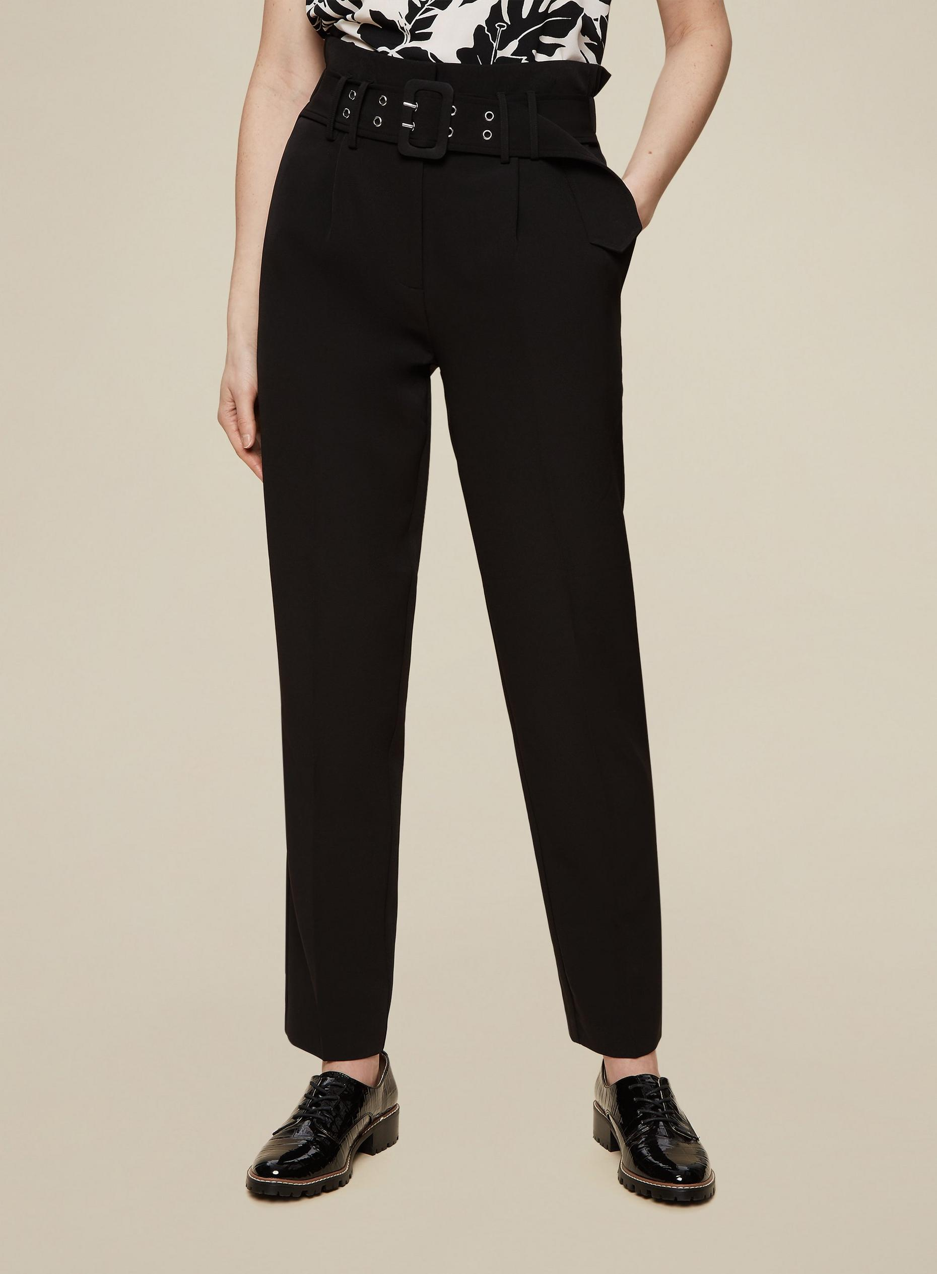 Tall Black Belted Trousers