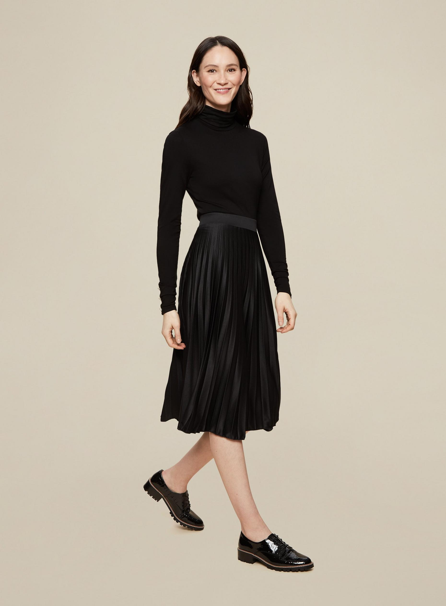 Tall Black Satin Pleated Skirt
