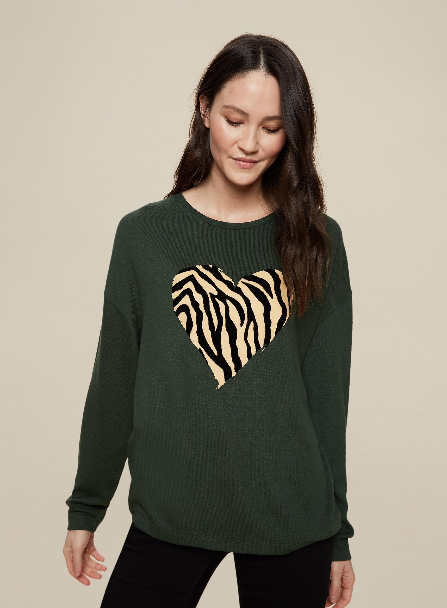 Tall Khaki Animal Print Heart Jumper