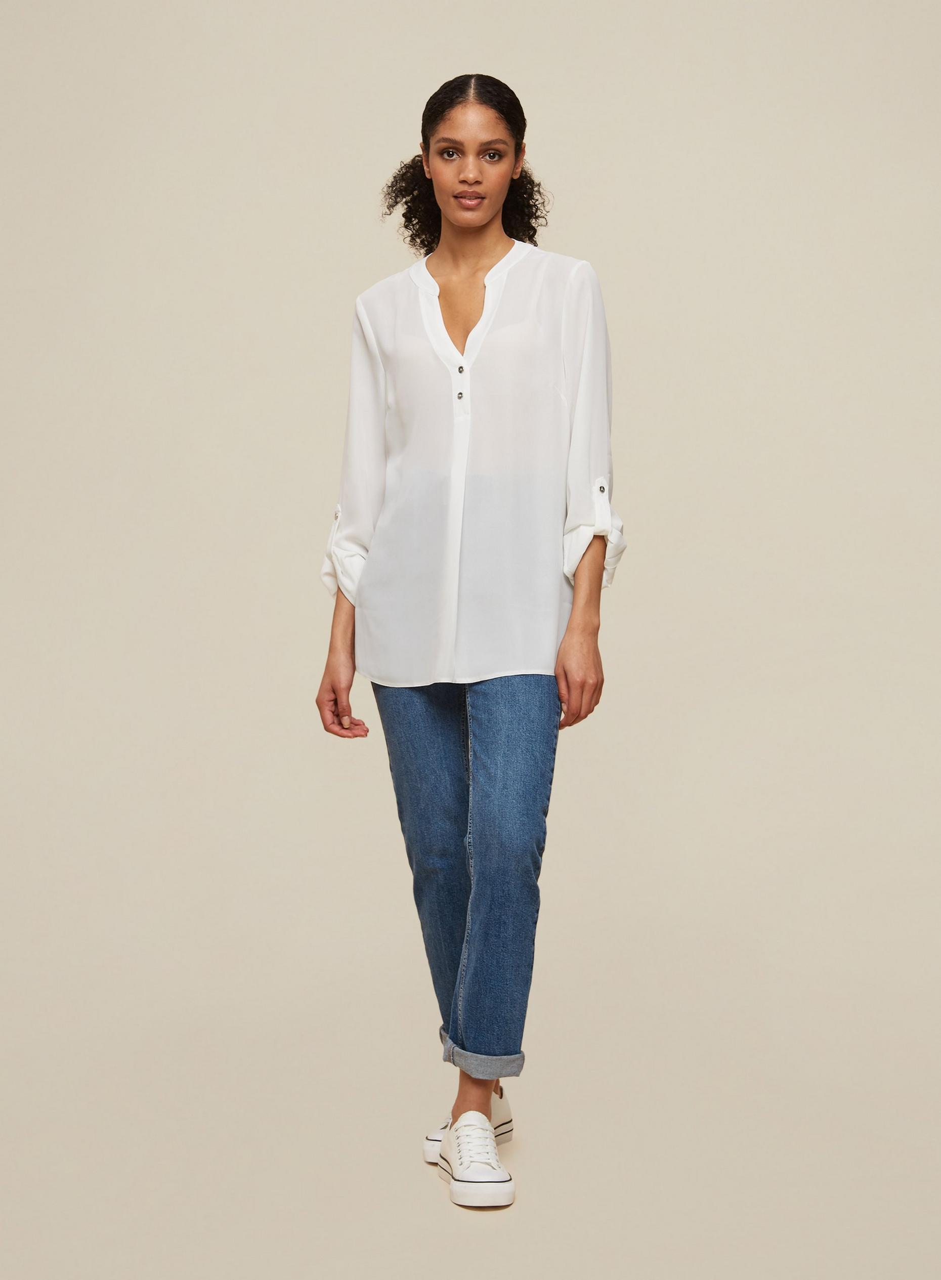 Tall Ivory Roll Sleeve Shirt