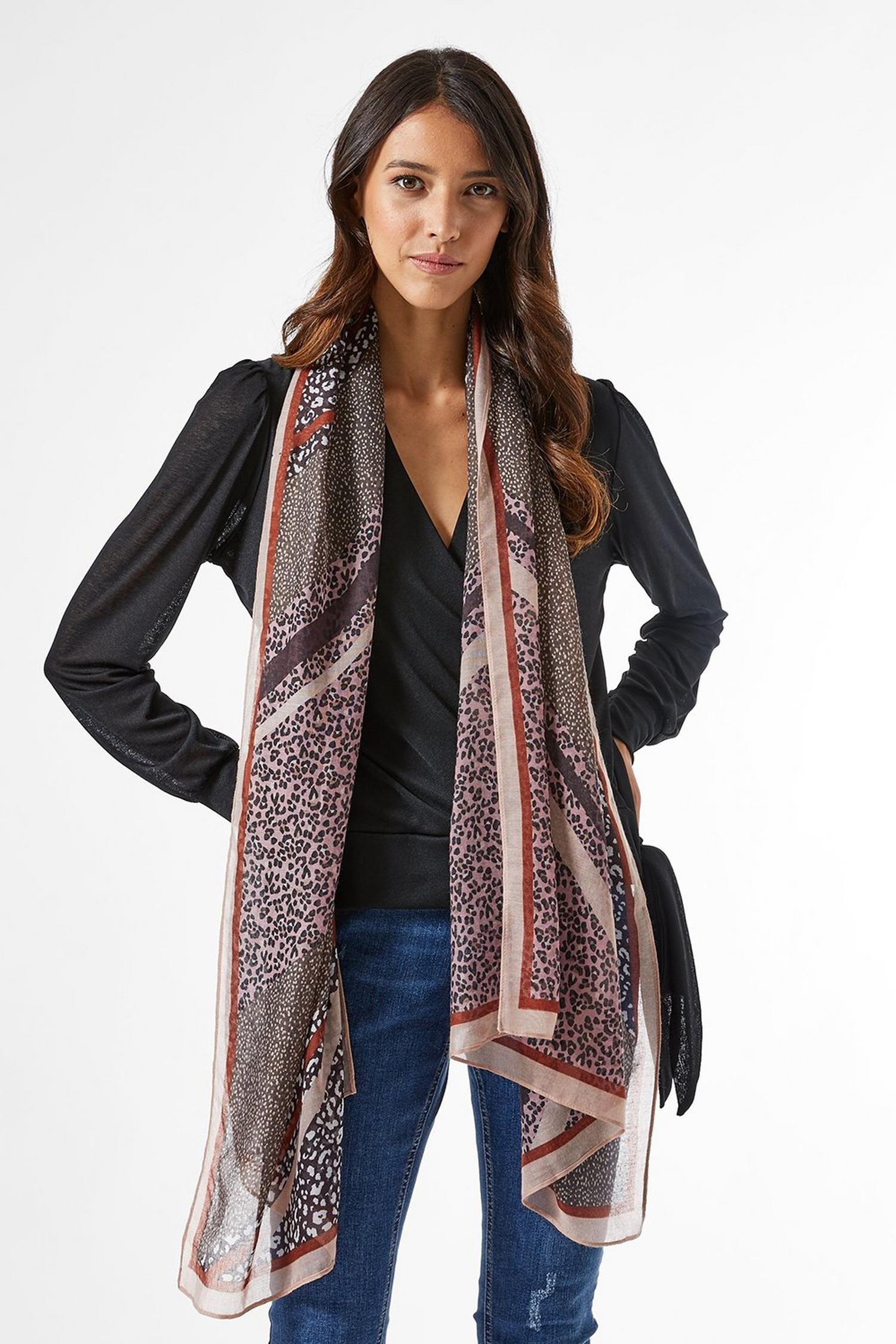 144 Multi Colour Striped and Animal Print Scarf image number 3