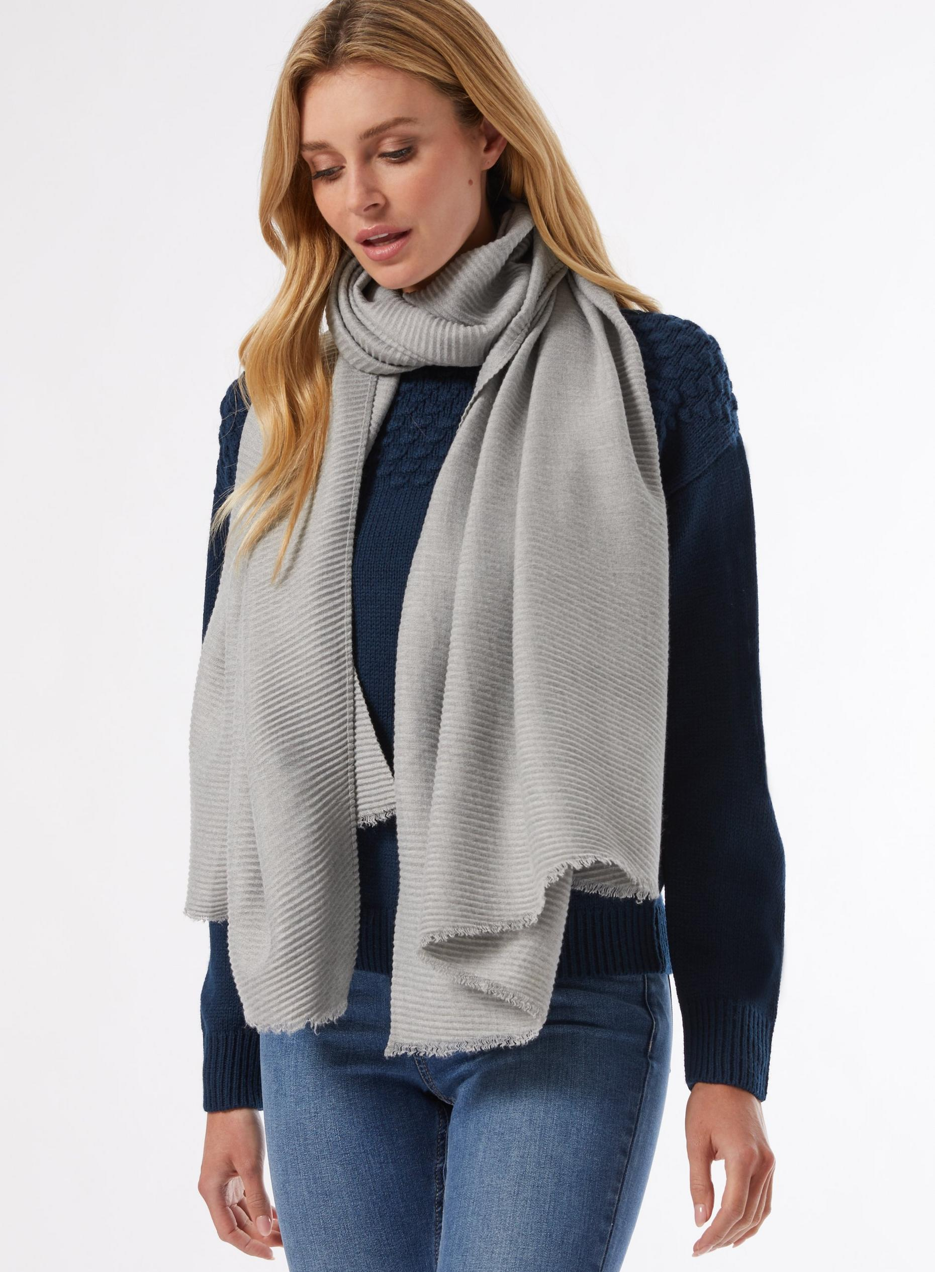 Grey Mid Weight Plisse Scarf