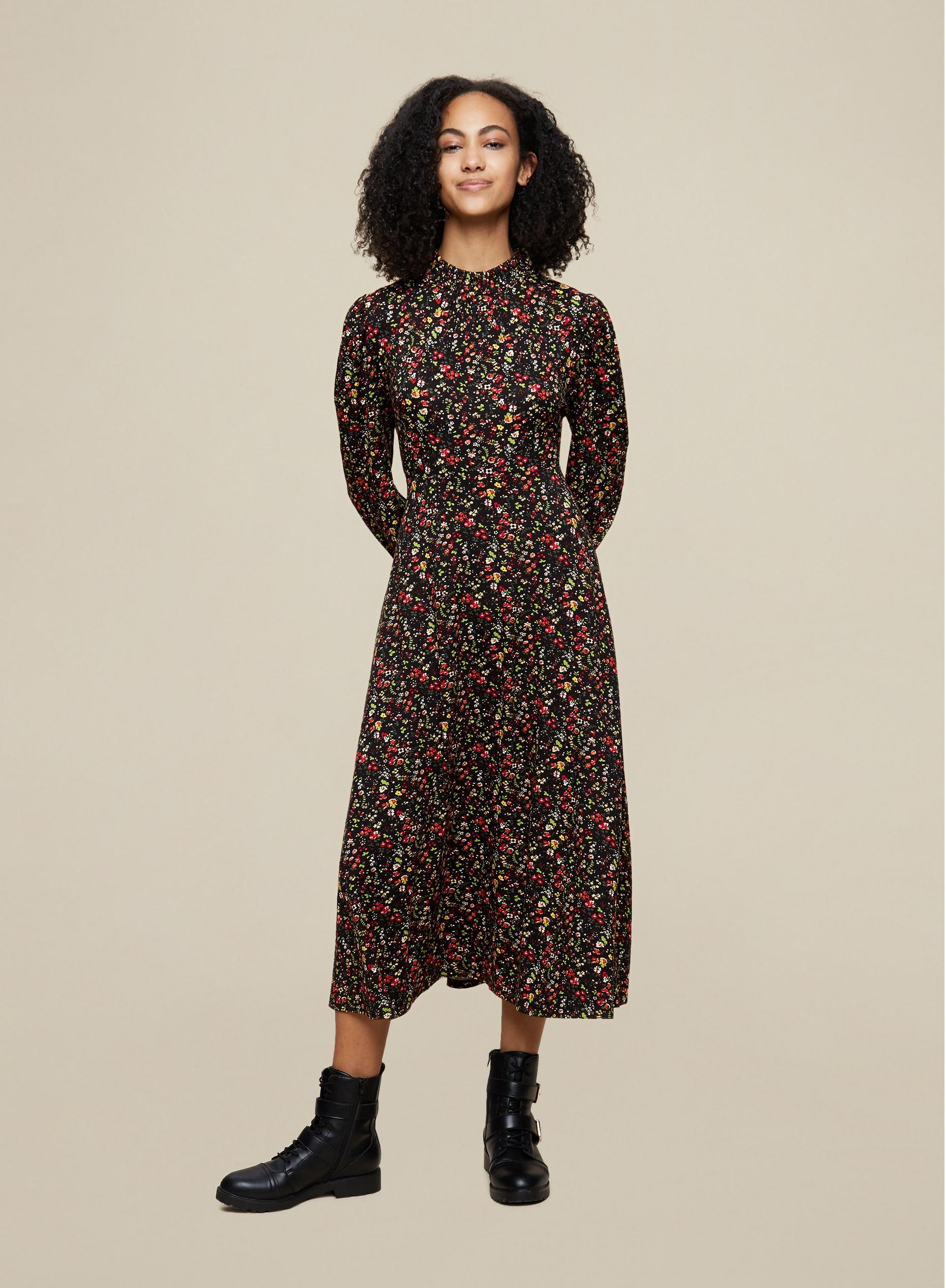 Tall Ditsy Shirred Neck Midi Dress