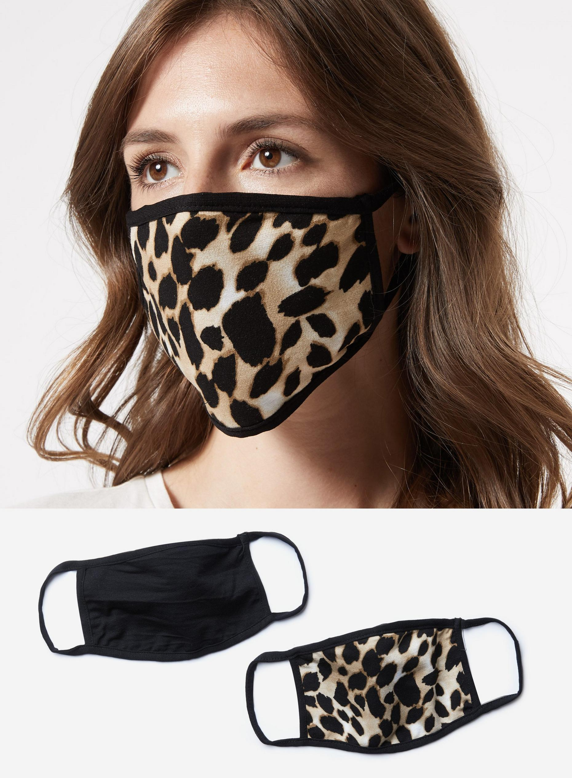 Black Leopard Two Pack Face Covering