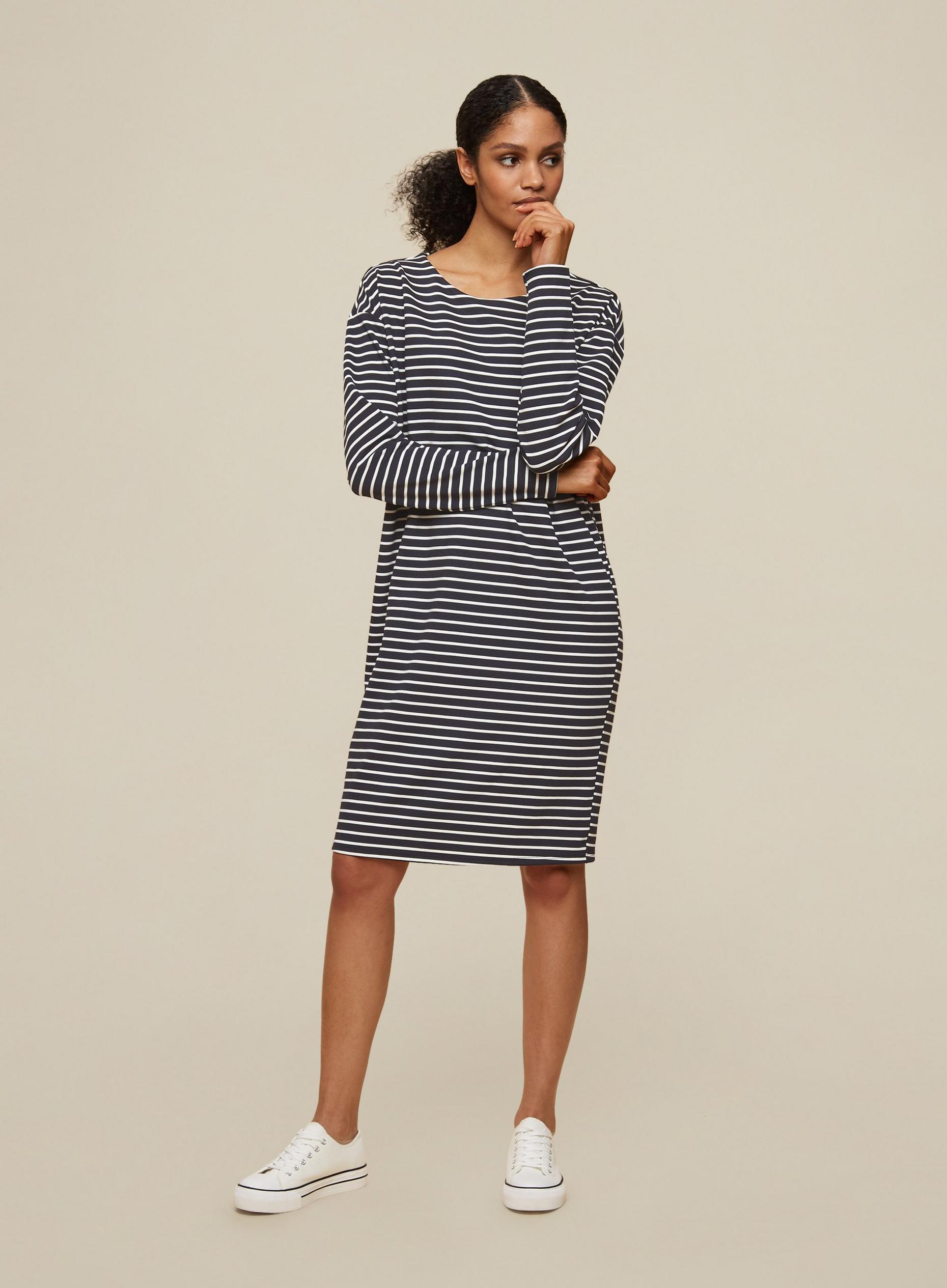 Tall Black Stripe Print Shift Dress