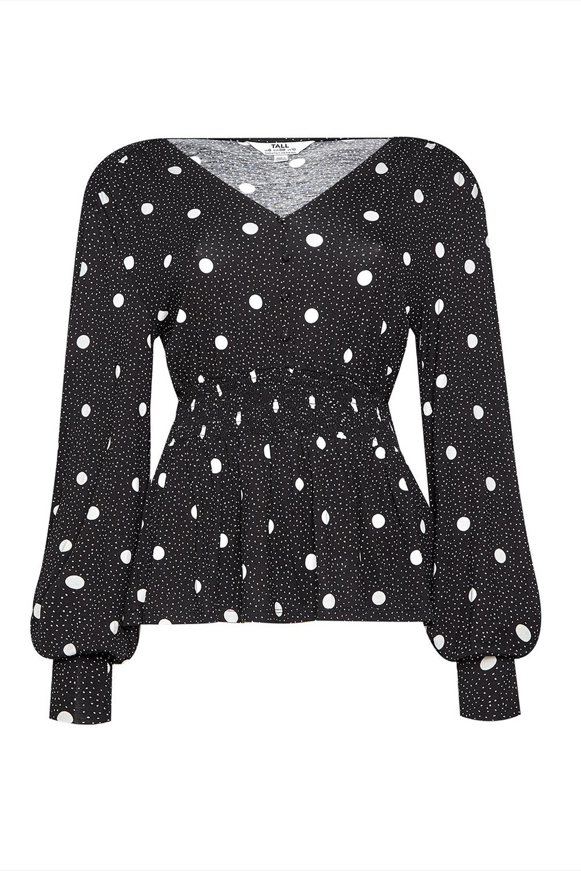 Tall Black Spot Print Shirred Top