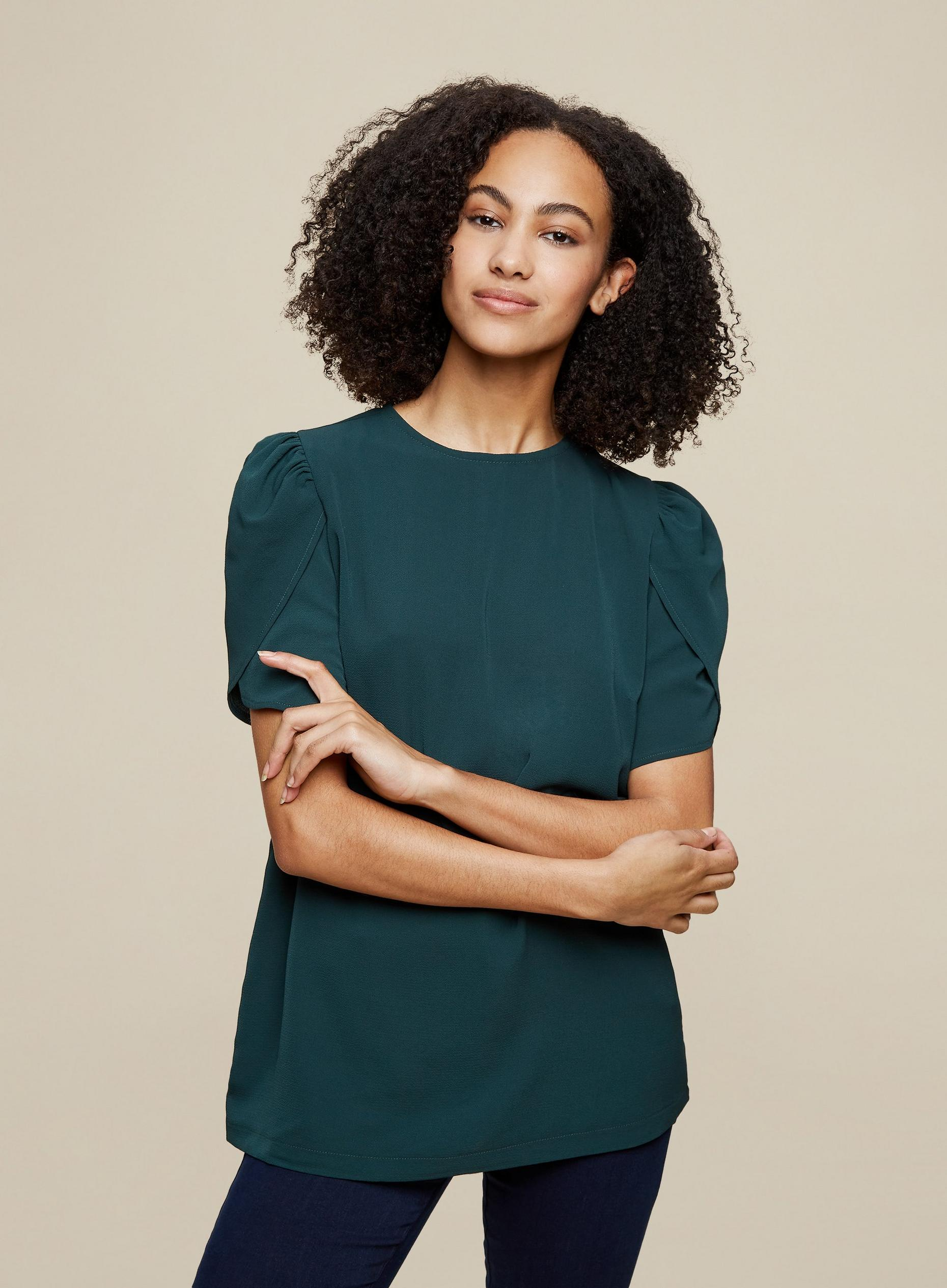 Tall Green Puff Sleeve Top
