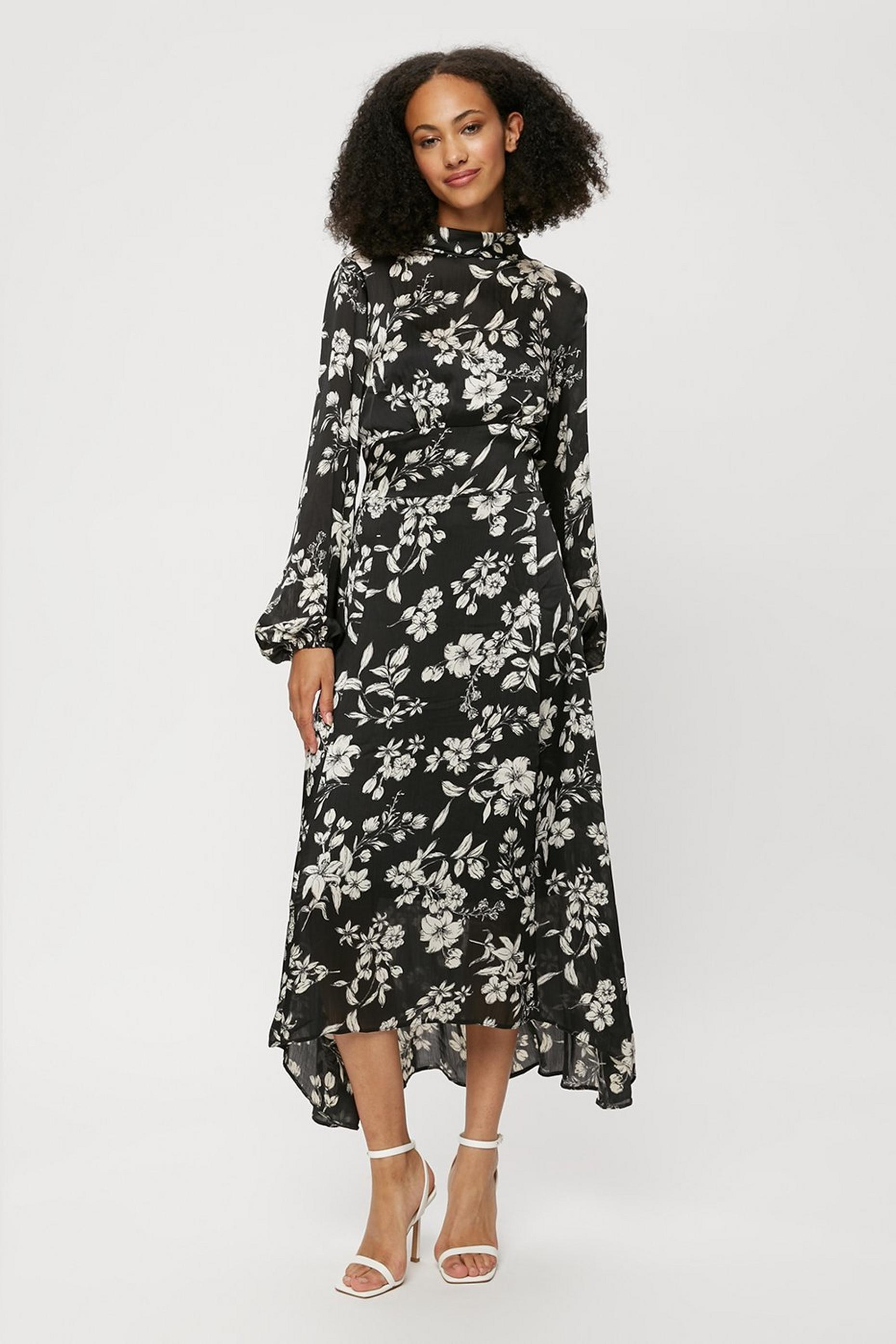 Tall Black Floral Print Midi Dress