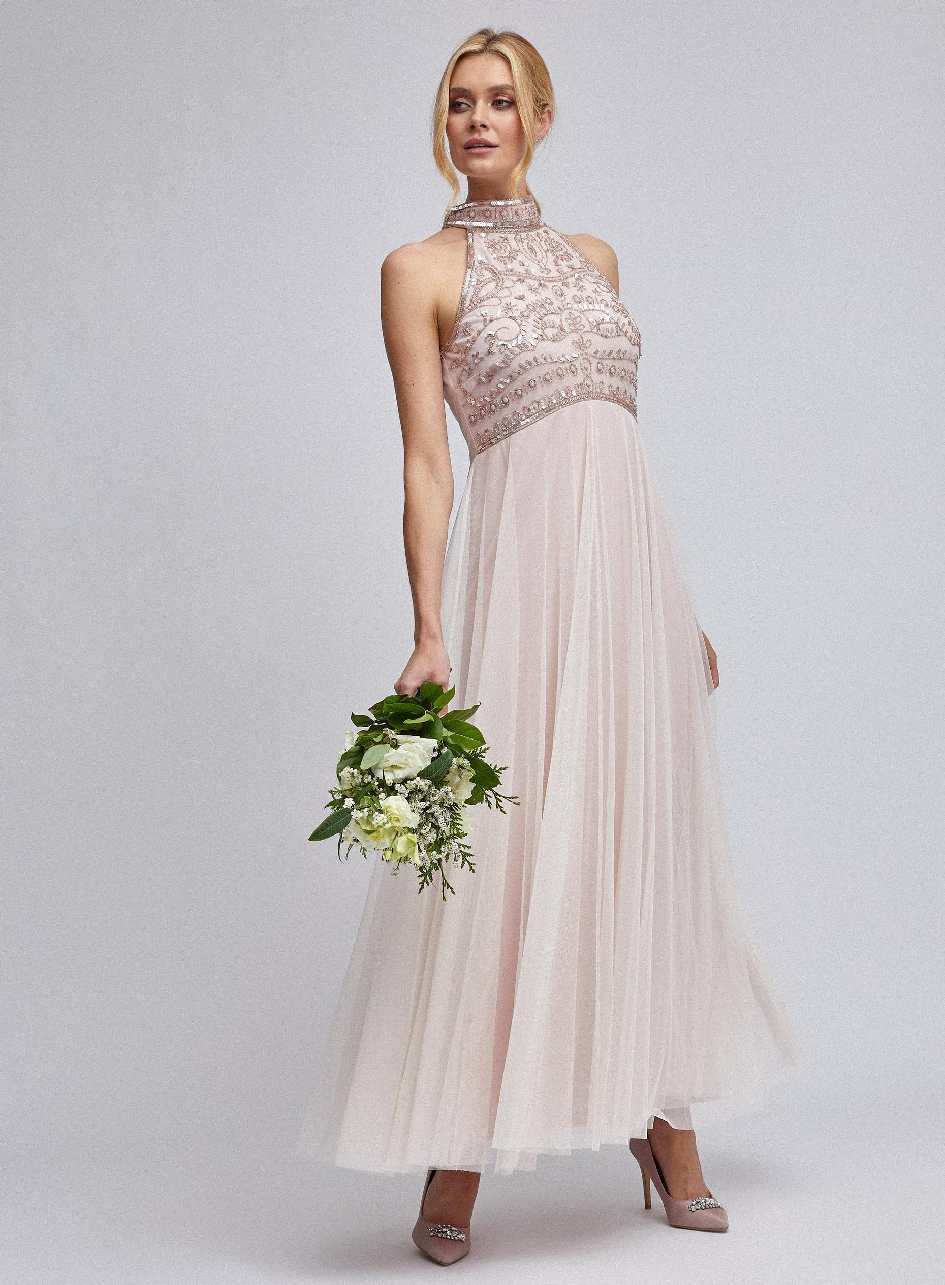Eleanor blush embellished maxi dress