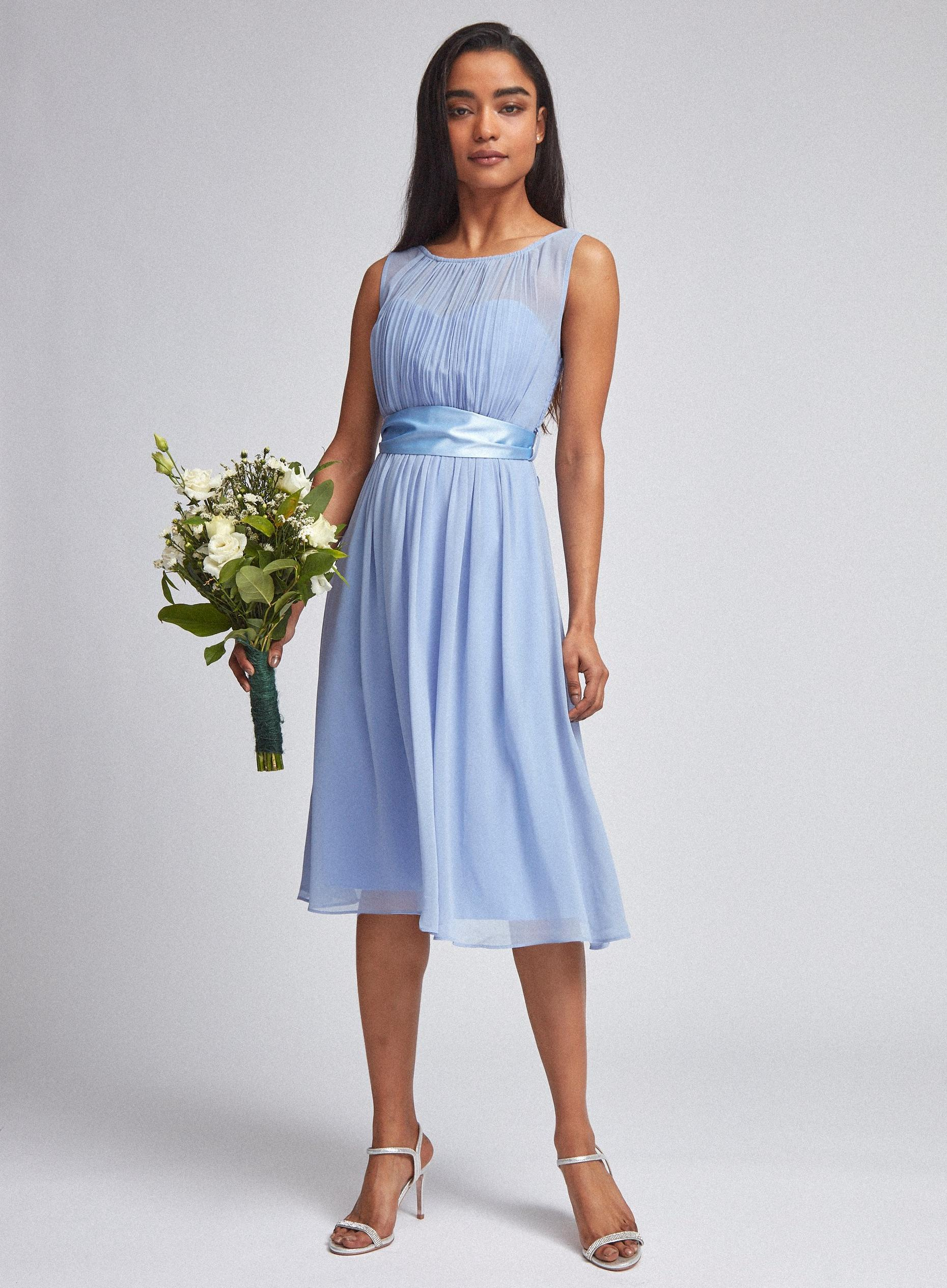 Blue Bethany Bridesmaid Skater Dress