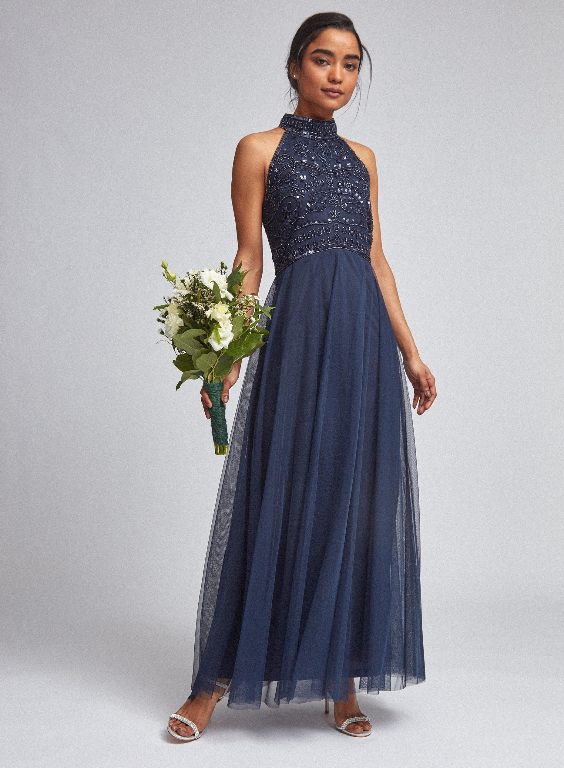 Petite Eleanor Navy Beaded Maxi Dress