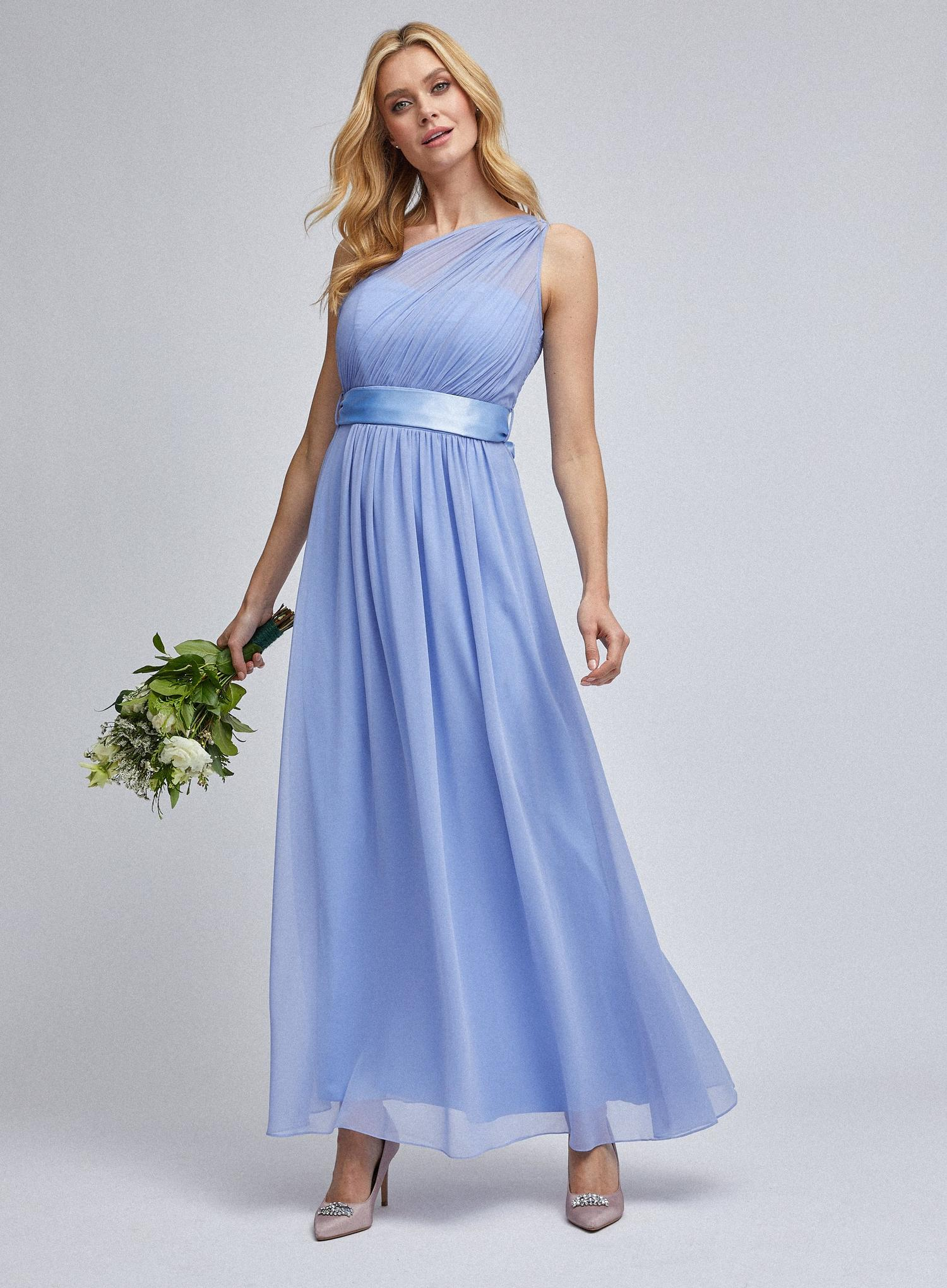 106 Sadie  Blue One Shoulder Maxi Dress image number 1