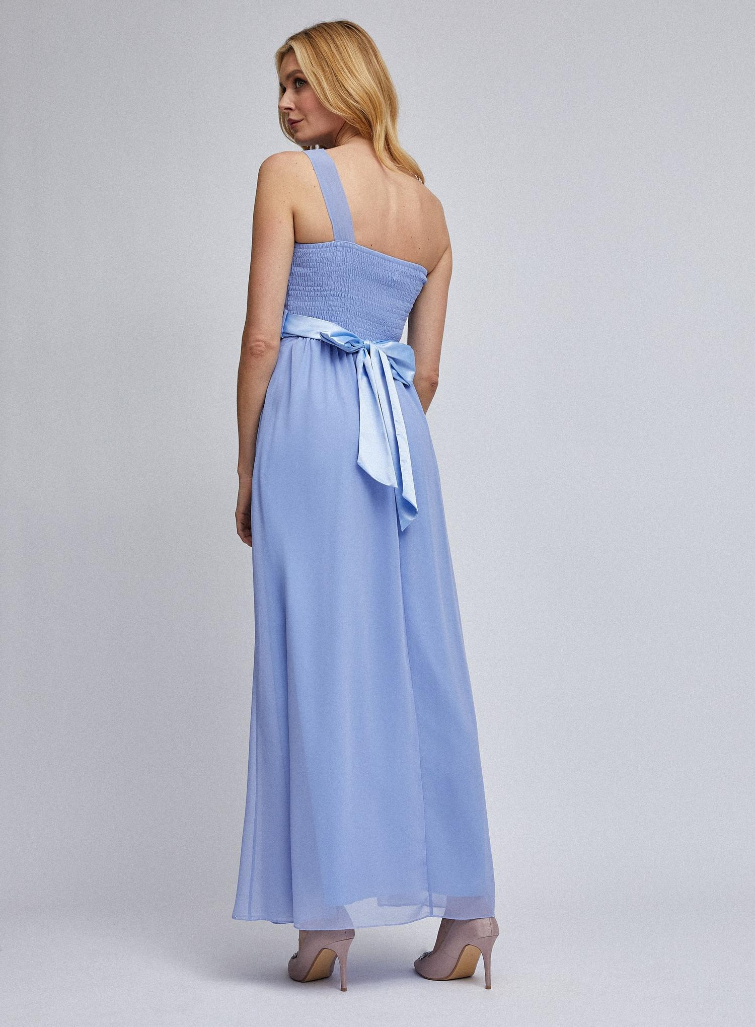 106 Sadie  Blue One Shoulder Maxi Dress image number 2