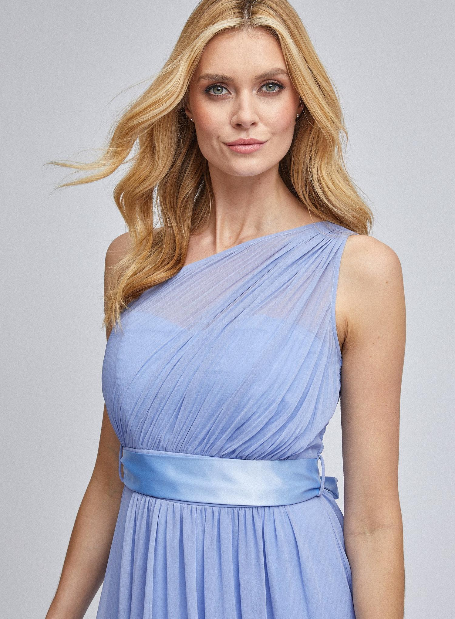 106 Sadie  Blue One Shoulder Maxi Dress image number 3