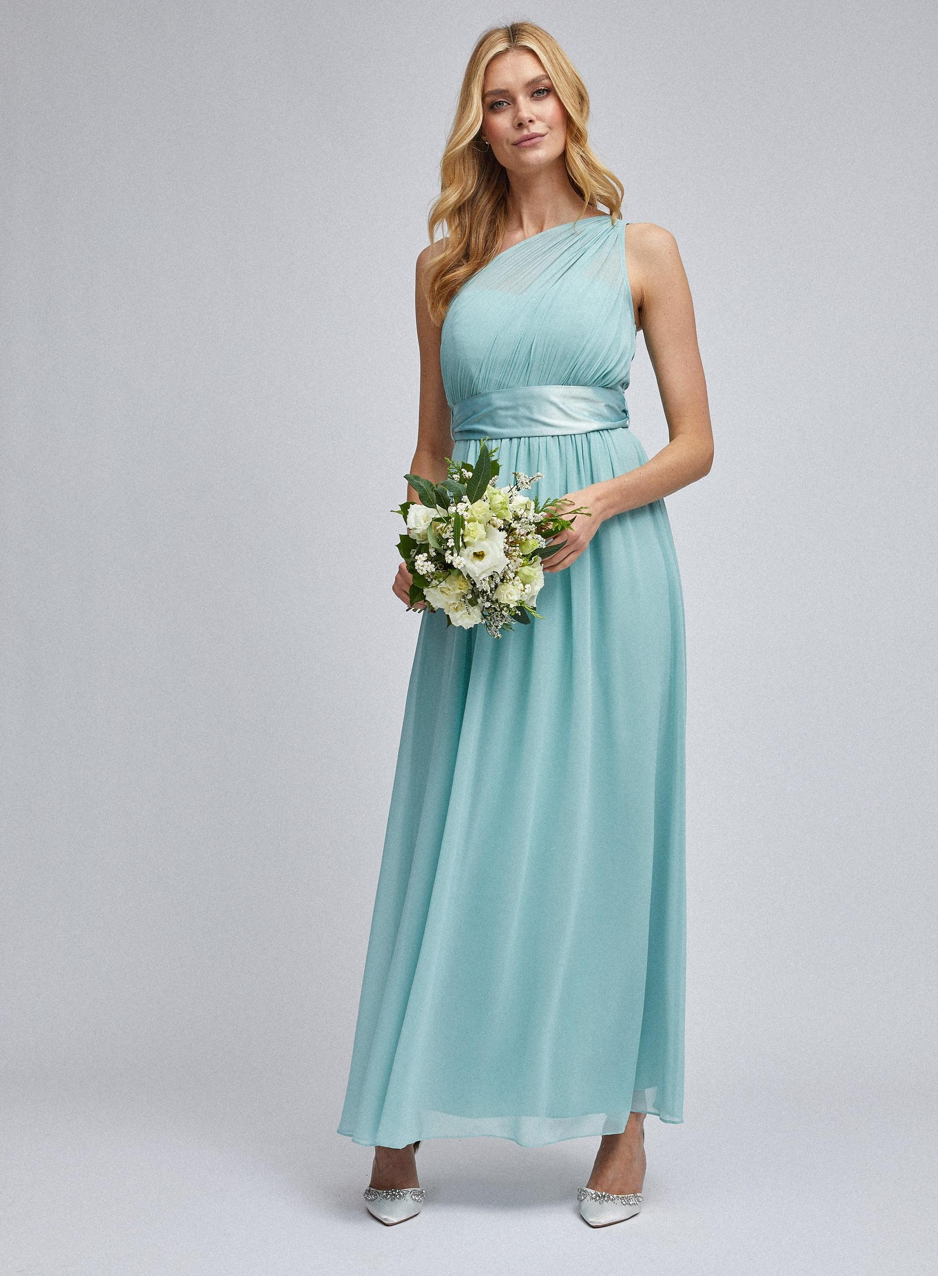 Sadie Thyme Green One Shoulder Maxi Dress