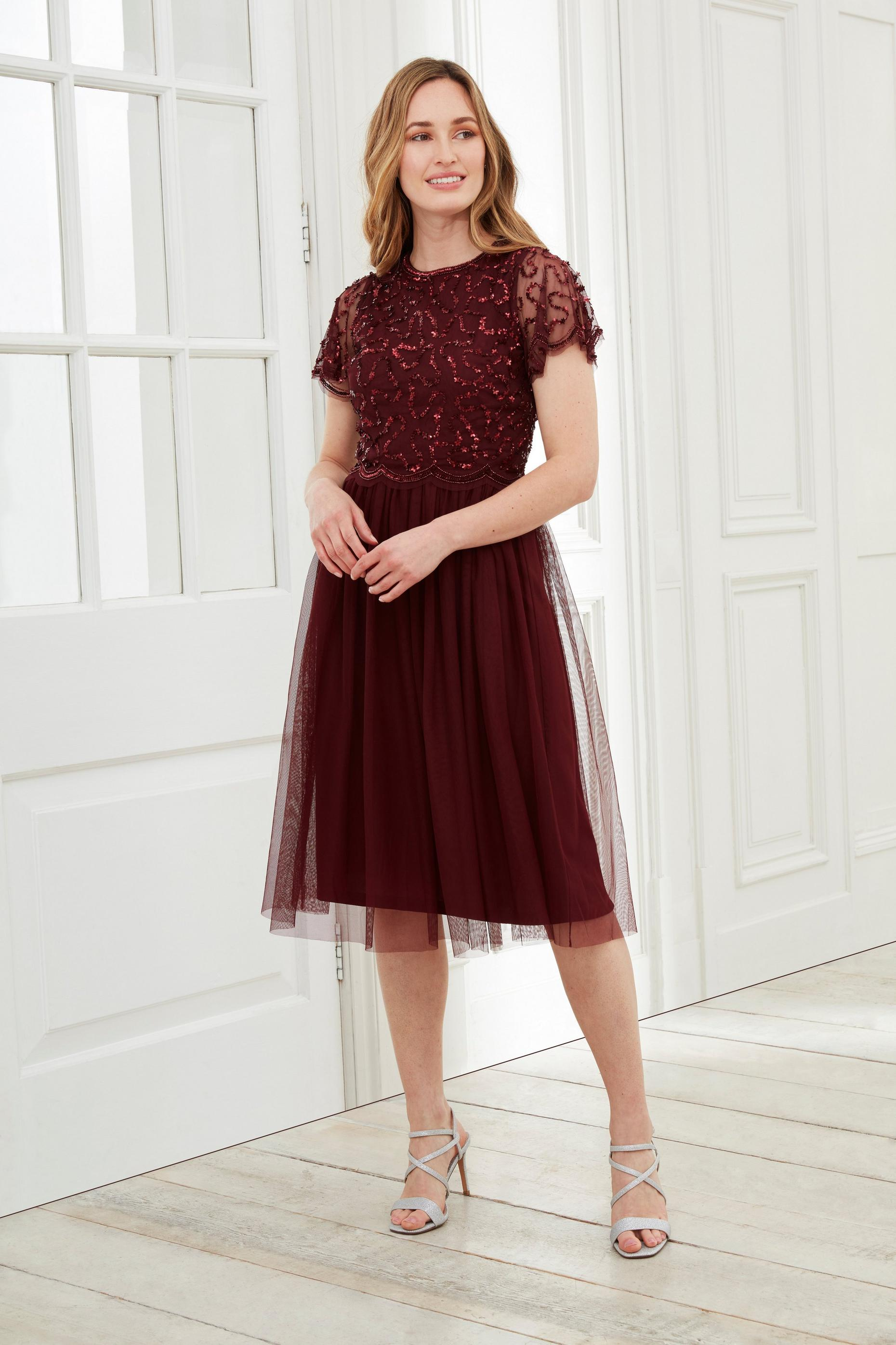 Taralou Embellished Tulle Midi Dress