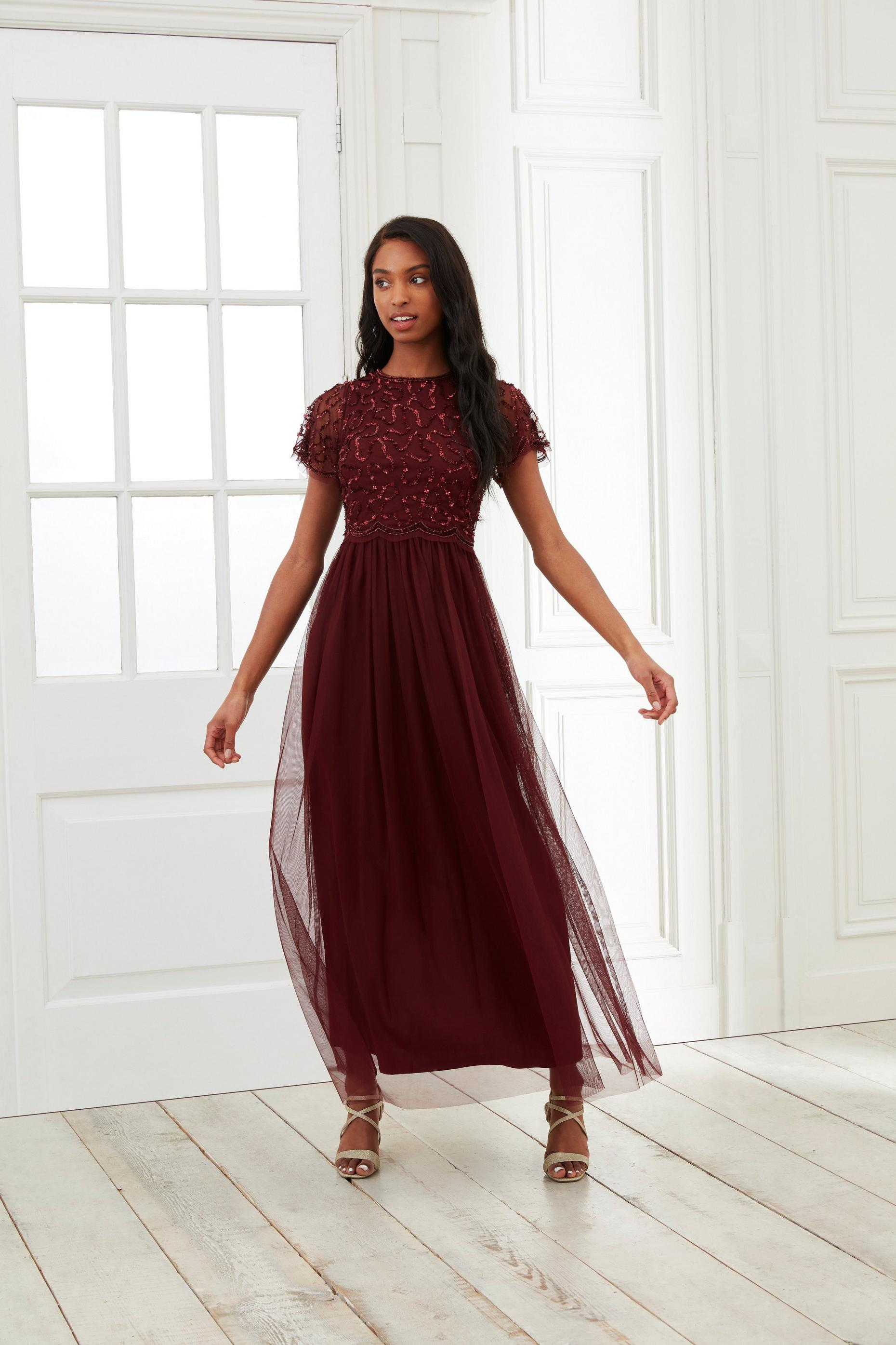 Burgundy Embellished Maxi Dress