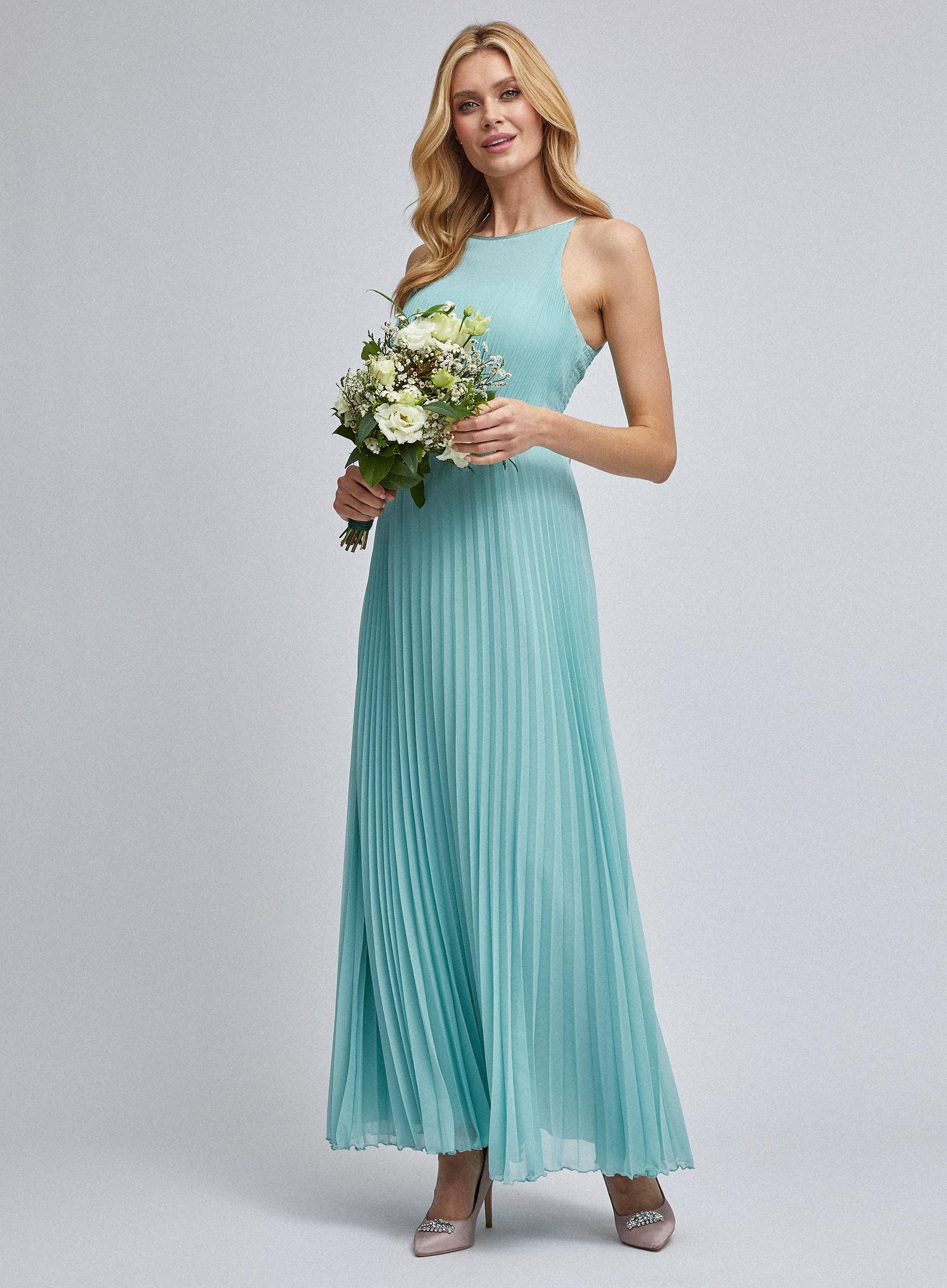 Lucy Green Pleated Maxi Dress