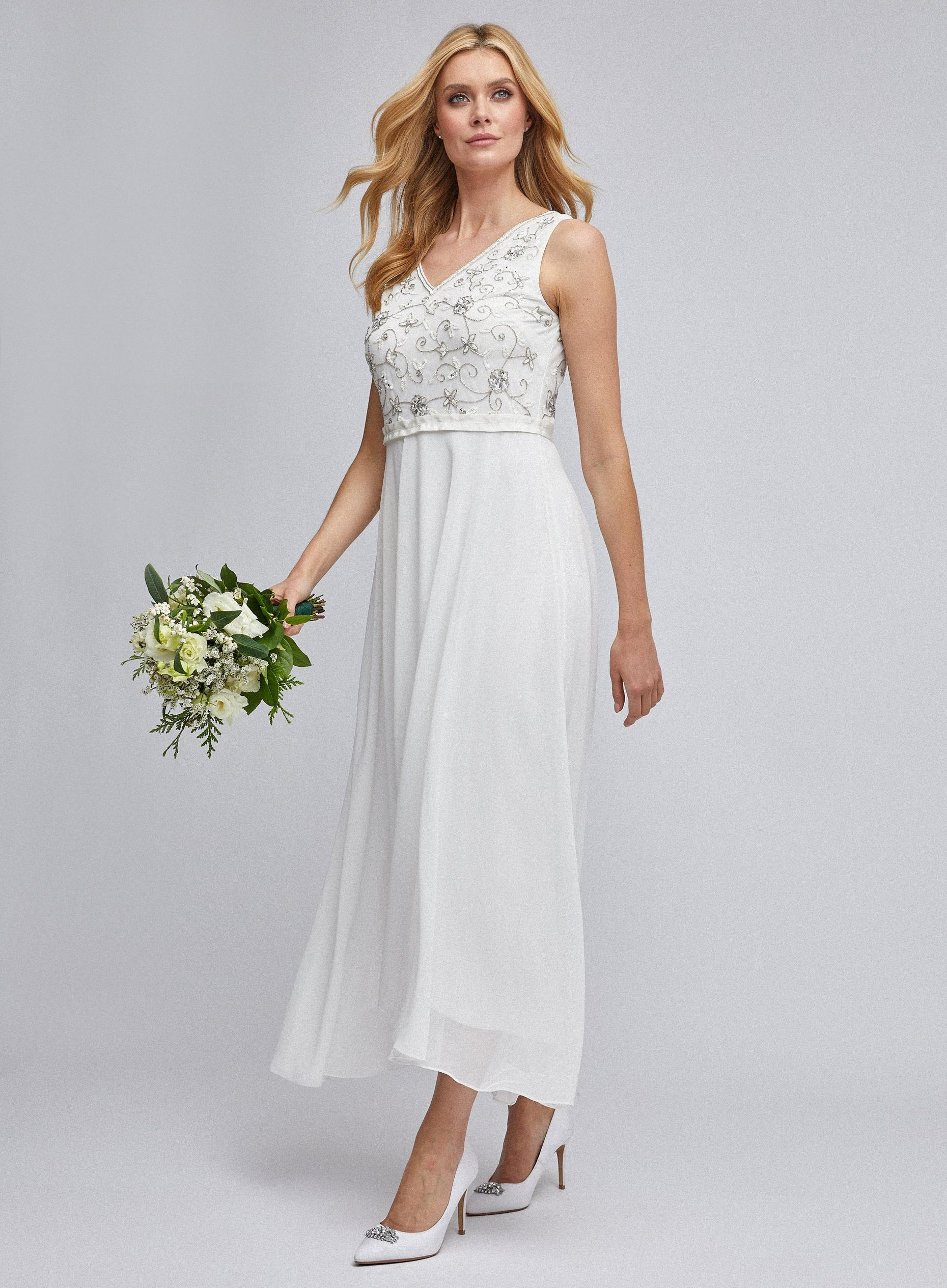 Eva Off White Bridal Midi Dress