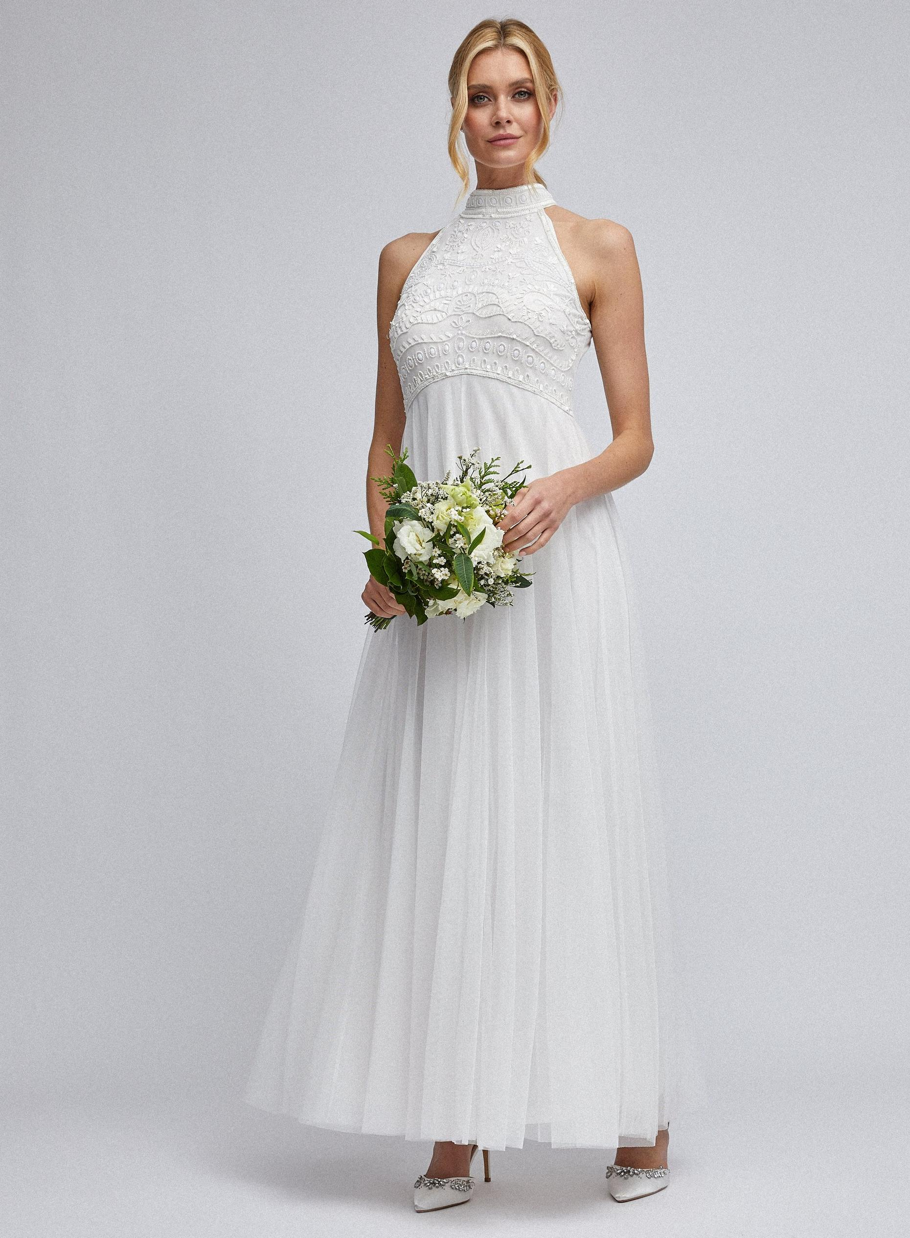 Harri Off White Beaded Bridal Maxi Dress